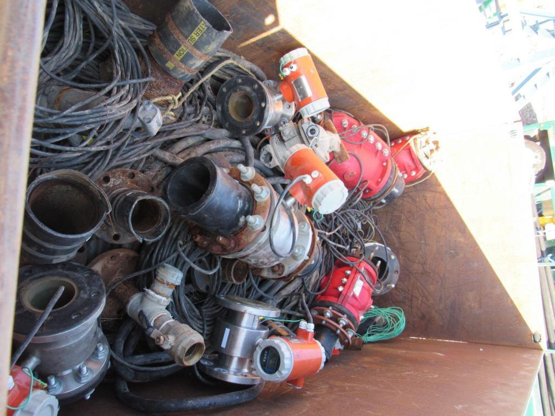 Lot 22 - Metal Container with Assorted Pumps, Valves, Cables, Fittings, and Misc.