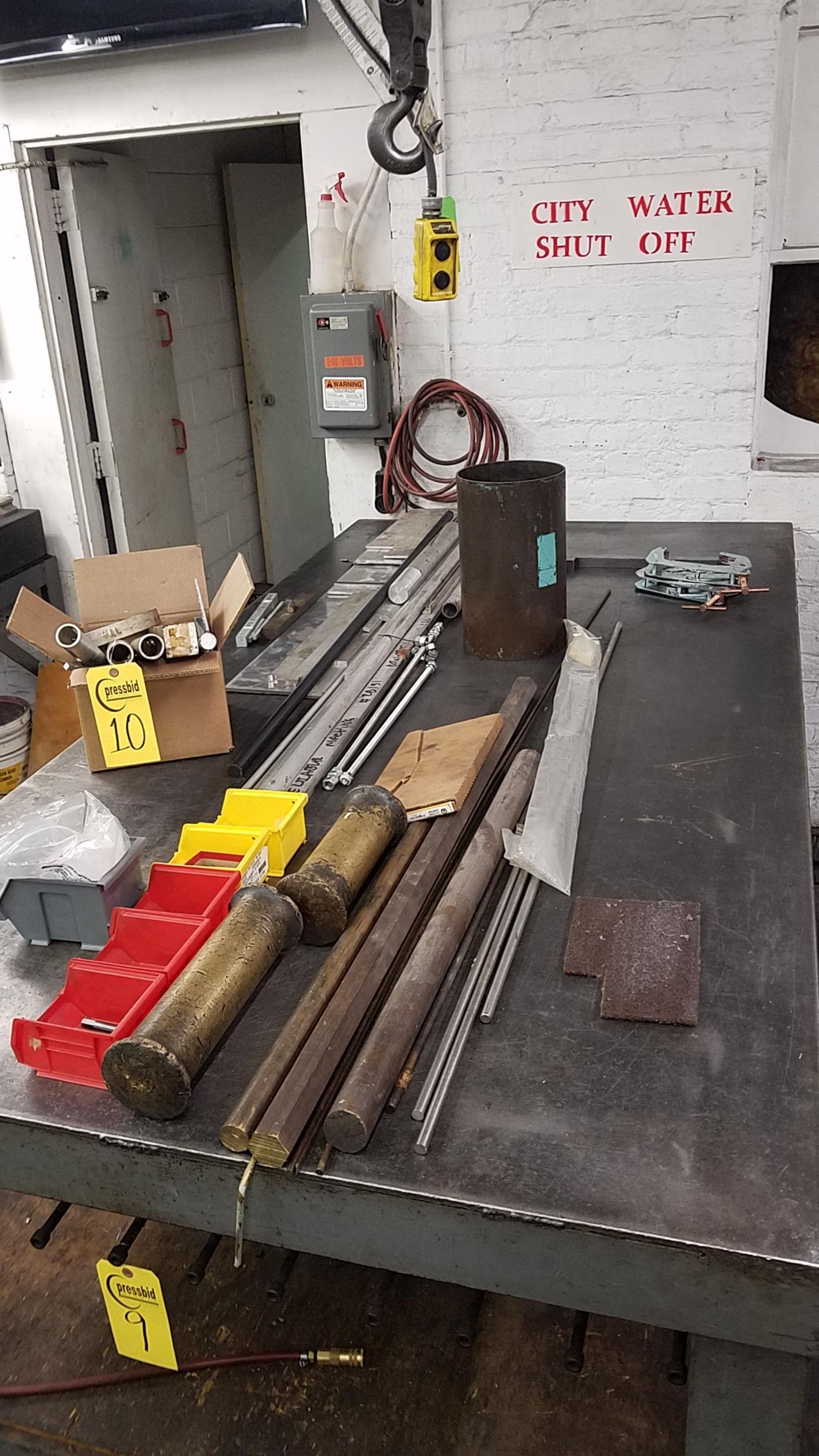 Lot 10 - MISC BRASS AND ALUMINUM (TABLE NOT INCLUDED)