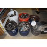 Lot 35 - 6 Buckets Misc. Steel/Stainless/Brass/Copper, Fittings/Connectors/Hardware