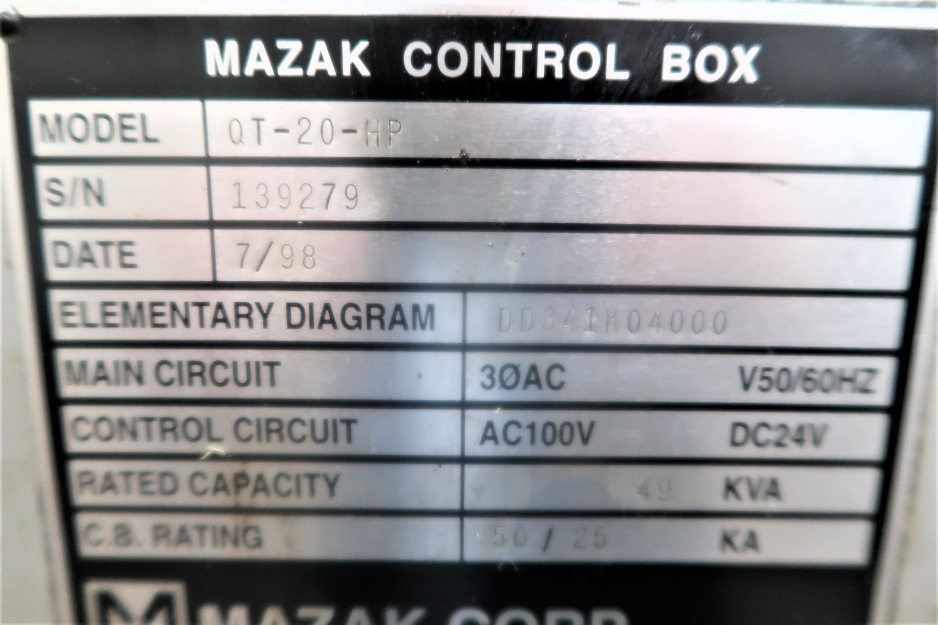 Lot 10A - MAZAK QT-20-HP CNC 2-AXIS TURNING CENTER LATHE