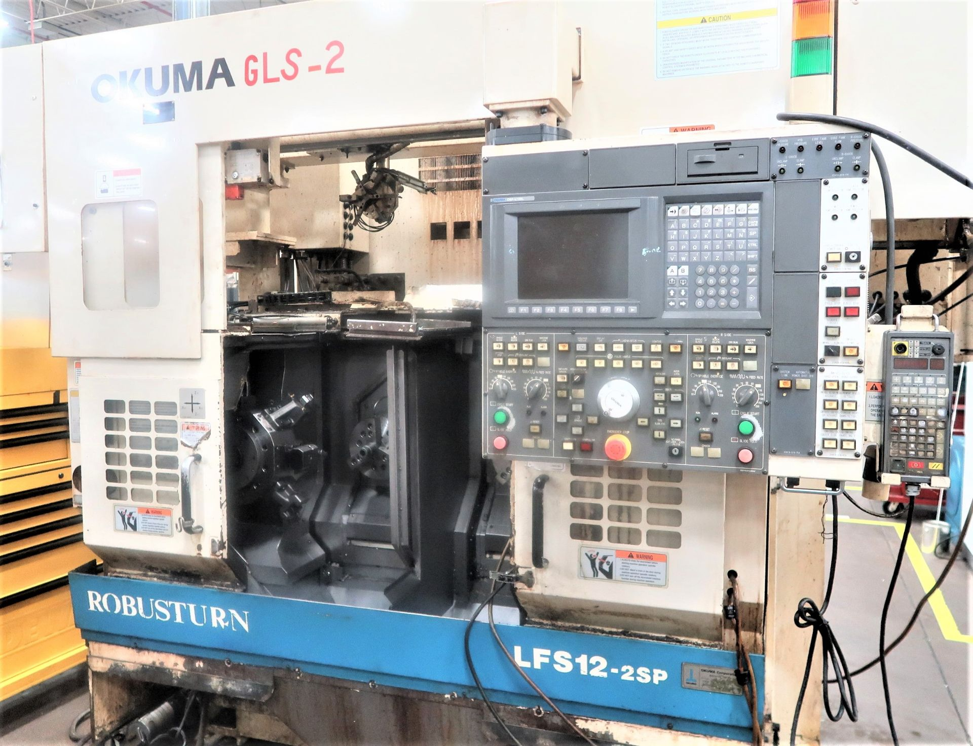 Lot 10F - OKUMA LFS-12 ROBUSTURN CNC TWIN SPINDLE WITH GANTRY LOADER TURNING CENTER CHUCKER LATHE