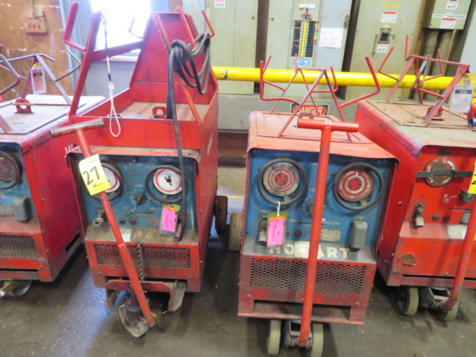 Lot 27 - (2) HOBART TR300 TIG WELDERS W/CARTS, CUT POWER CORDS