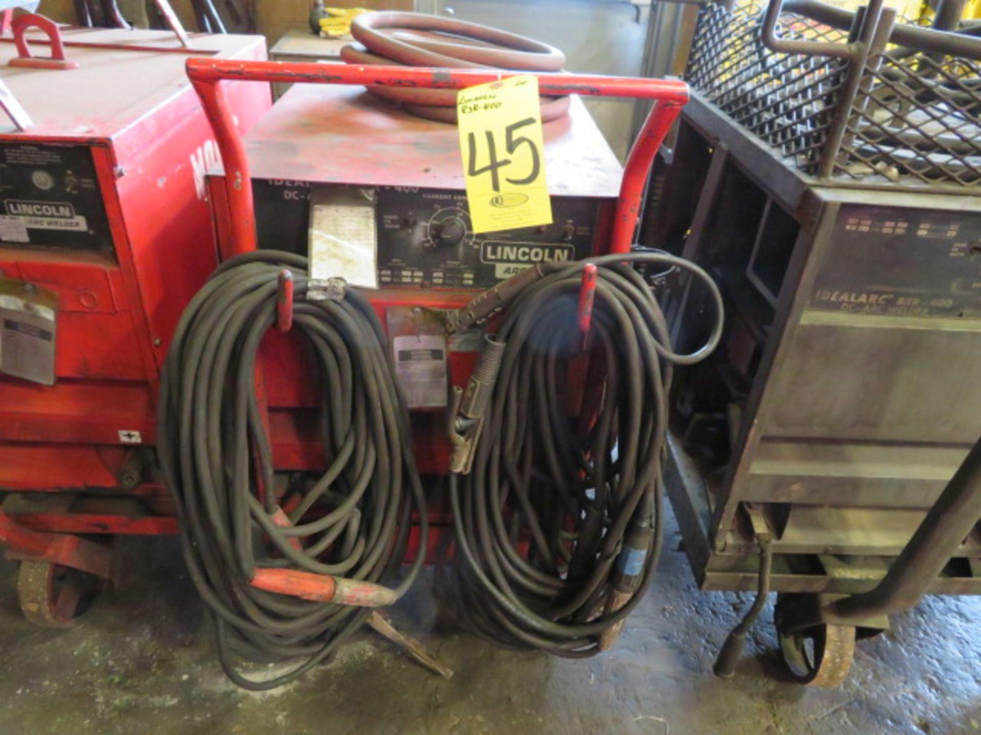 Lot 45 - LINCOLN IDEALARC R3R-400 TIG WELDER W/CART & WELDING LEADS