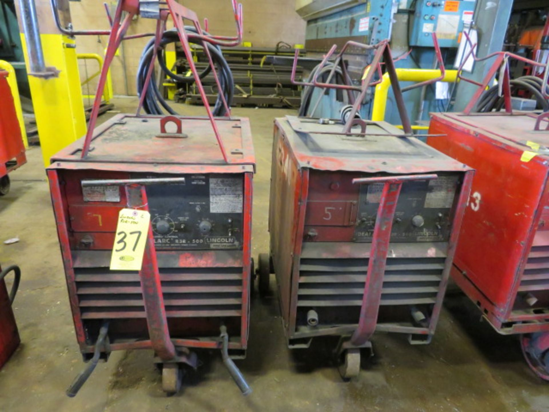 Lot 37 - (2) LINCOLN IDEALARC R3R-500 TIG WELDERS W/CARTS