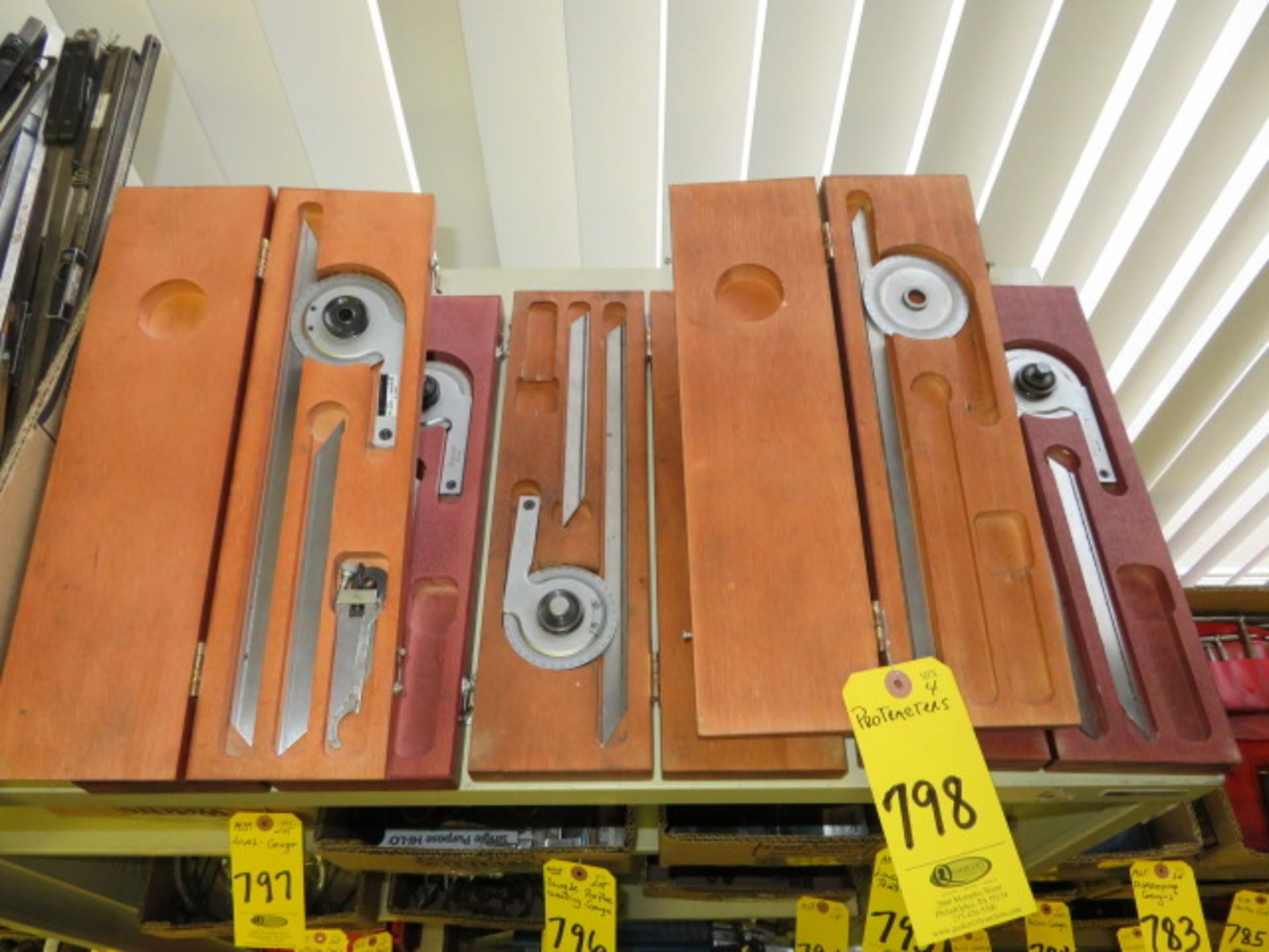 Lot 798 - (4) STARRETT BEVEL VERNIER PROTRACTORS