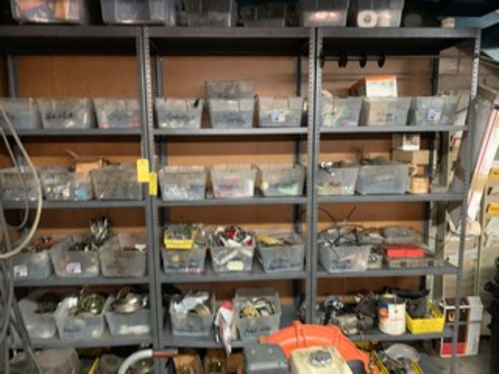 Lot 45 - BINS ASSORTED MOWER PARTS
