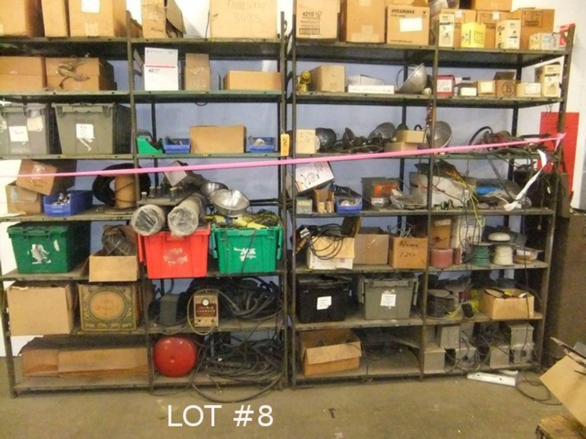 Lot 8 - LOT: METAL SHELVING W/ CONTENTS