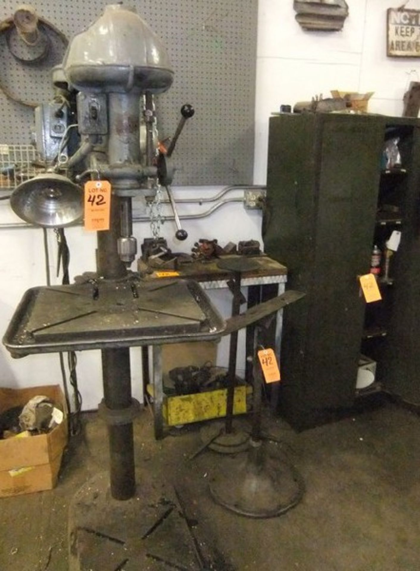 "Lot 42 - LOT: WALKER TURNER 1/2"" DRILL PRESS W/ (2) WORKSTANDS; TABLE & CONTENTS"