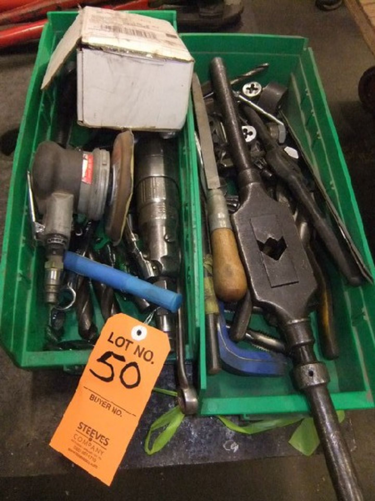 Lot 50 - LOT: MISC. HAND TOOLS; TAPS & DIES