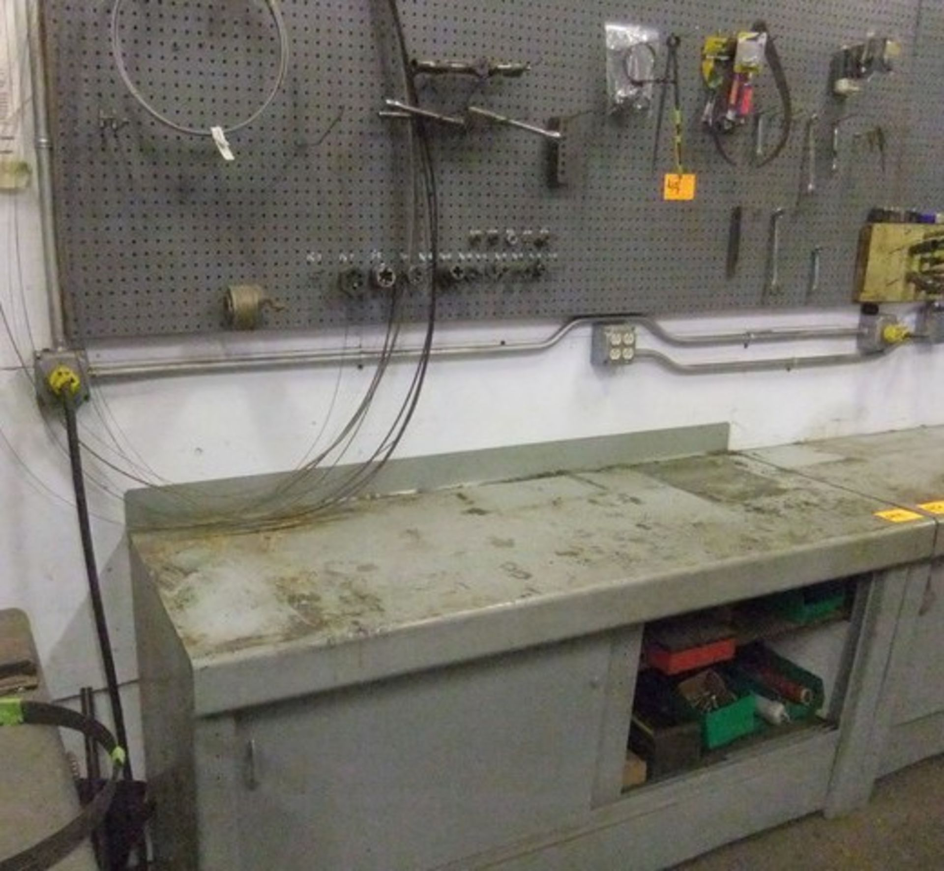 Lot 44 - LOT: METAL CABINET W/ CONTENTS & CONTENTS OF WALL RACK