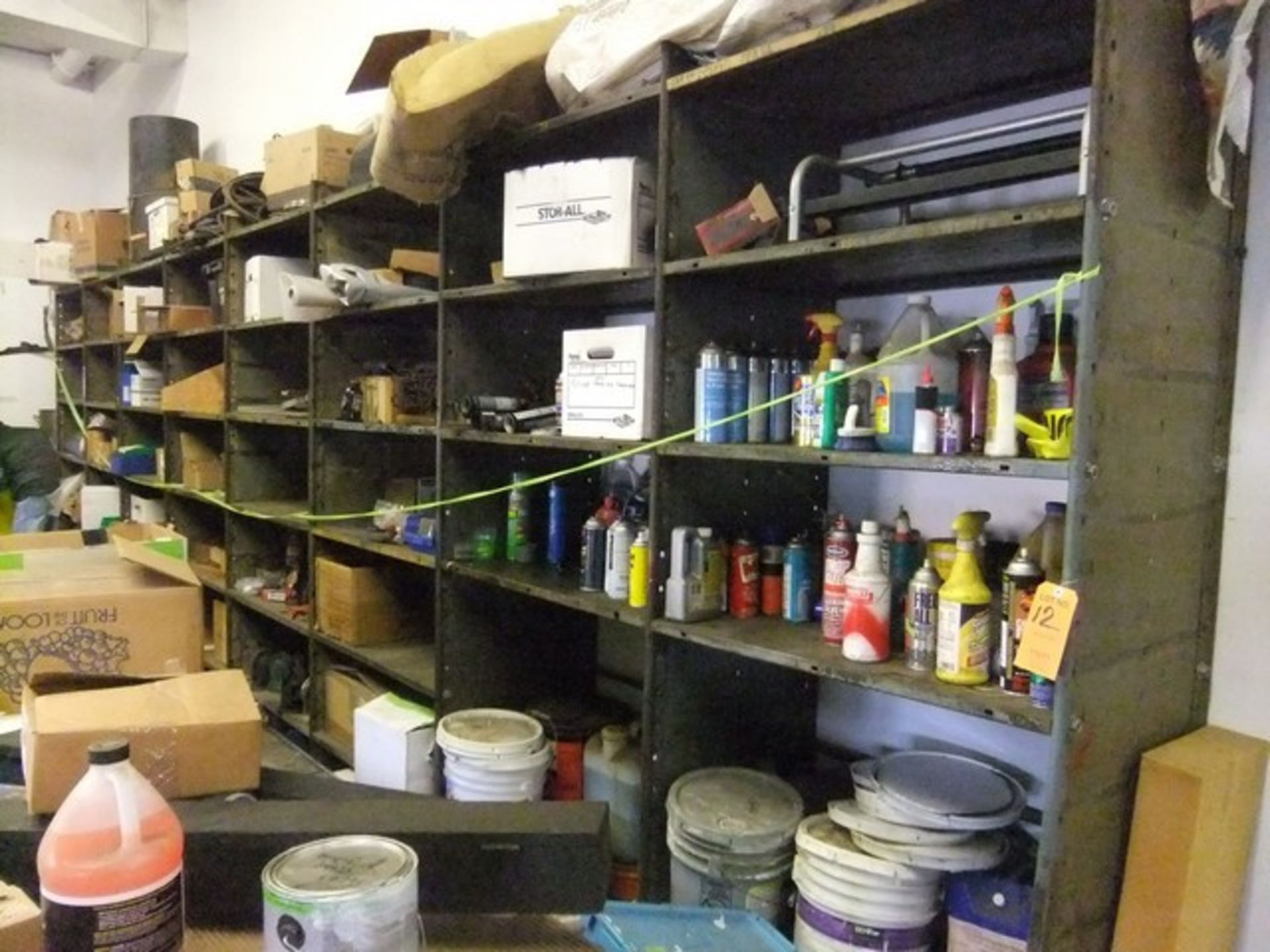 Lot 12 - LOT: SHELVING WITH CONTENTS