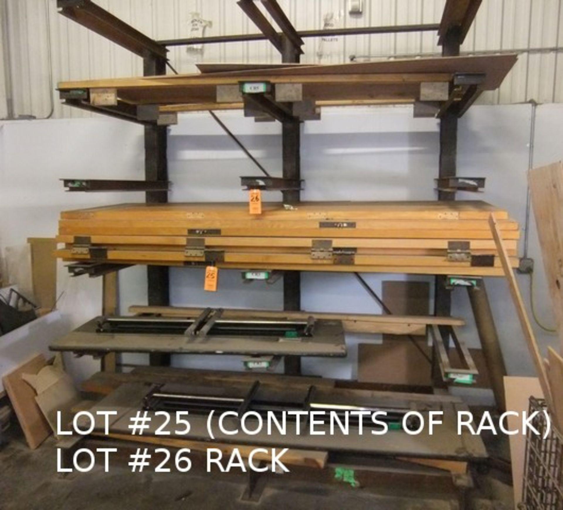 Lot 25 - LOT: CONTENTS OF RACK (DOORS & TABLES)