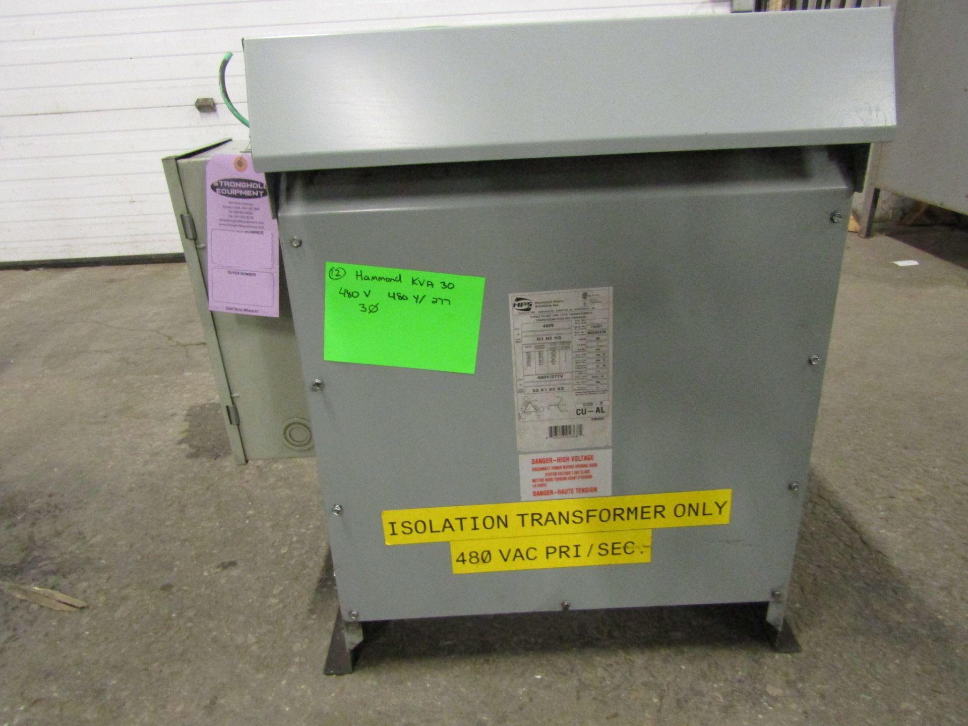 Lotto 296 - Hammond 30 KVA Electrical Transformer - 480V to 480Y / 277V 3 phase