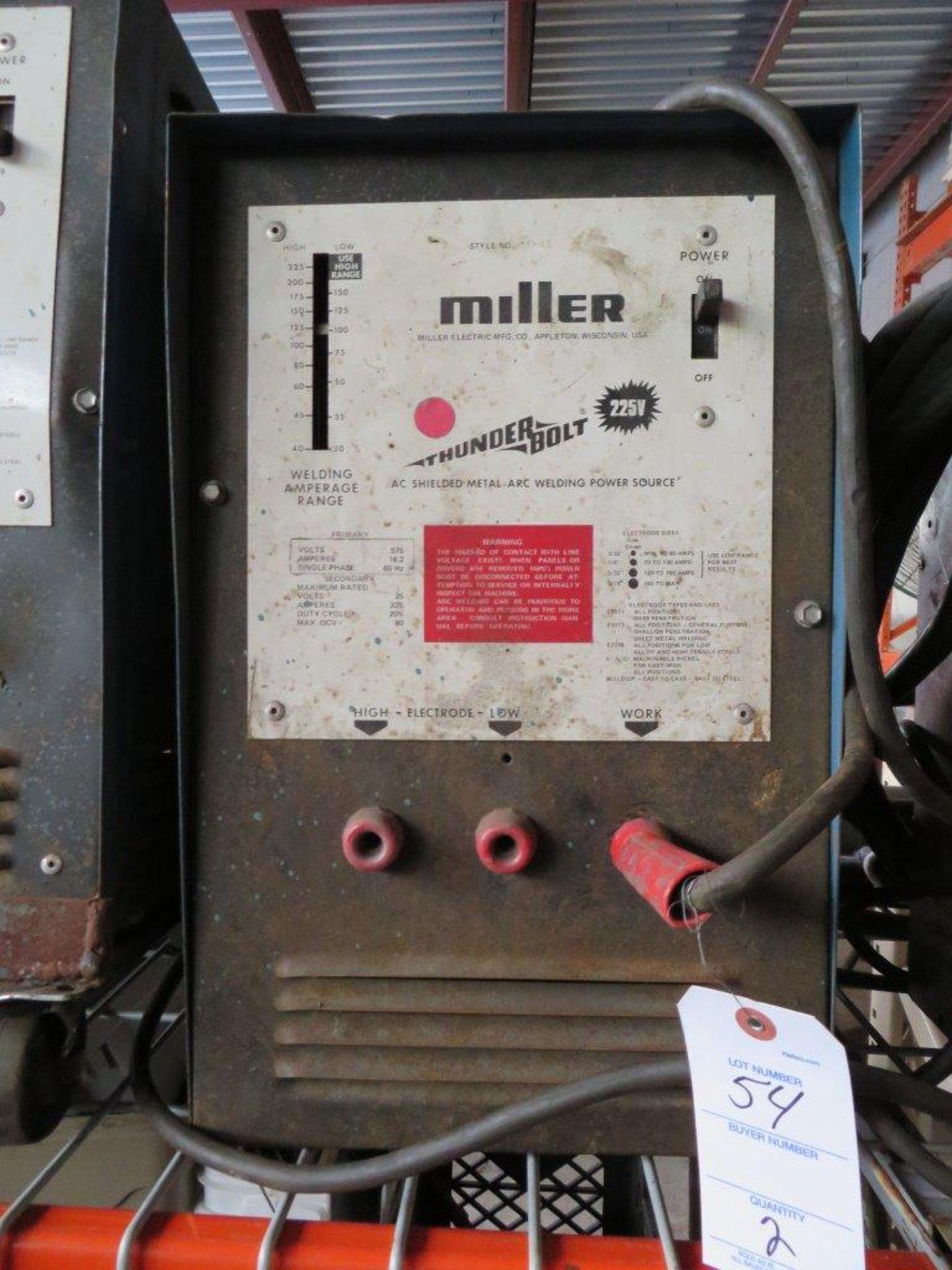 Lot 54 - (2) Miller Thunderbolt Arc Welders - 225 Volt