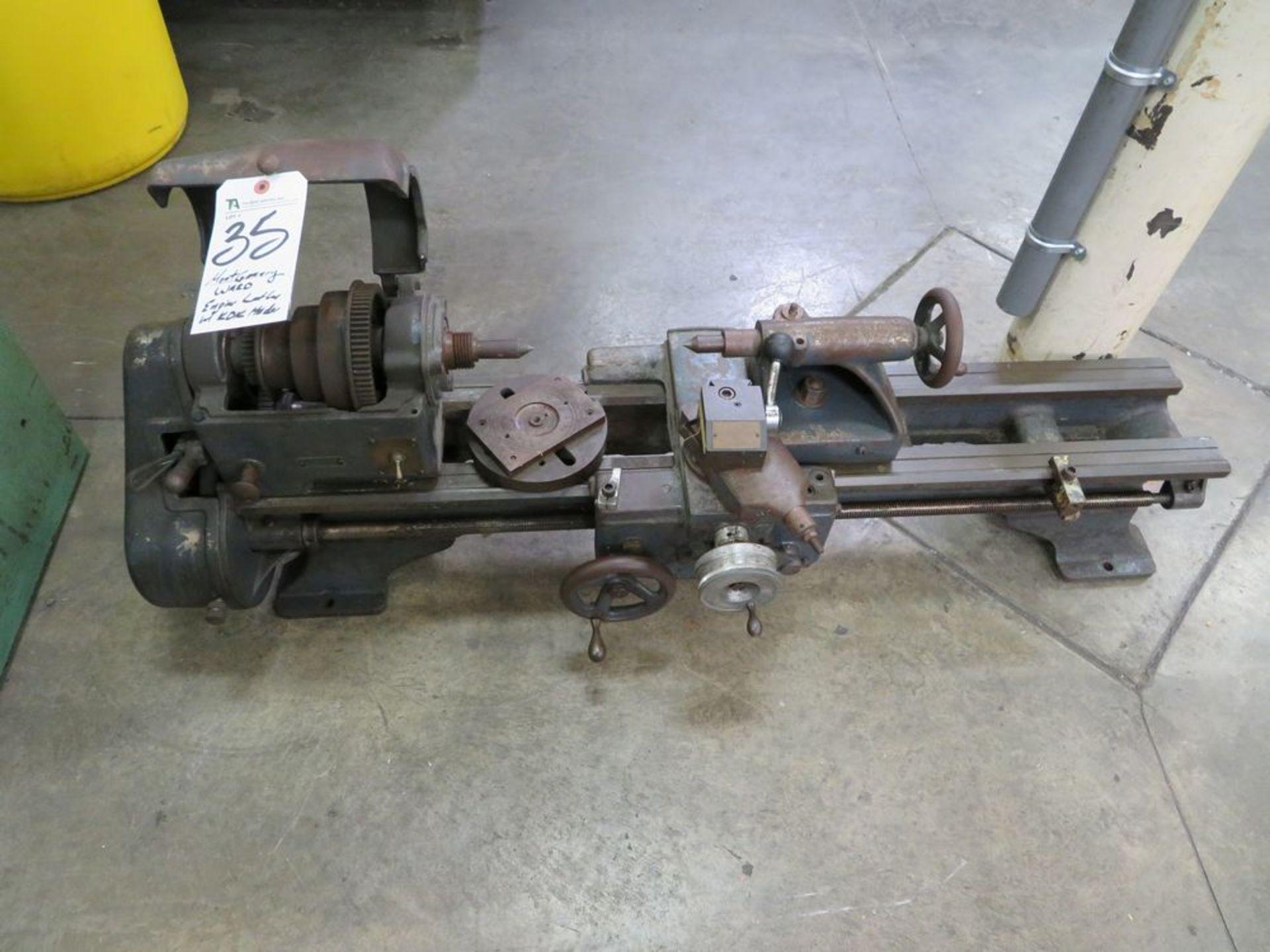 Lot 35 - Montgomery Ward Engine Lathe w/ KDK Holder