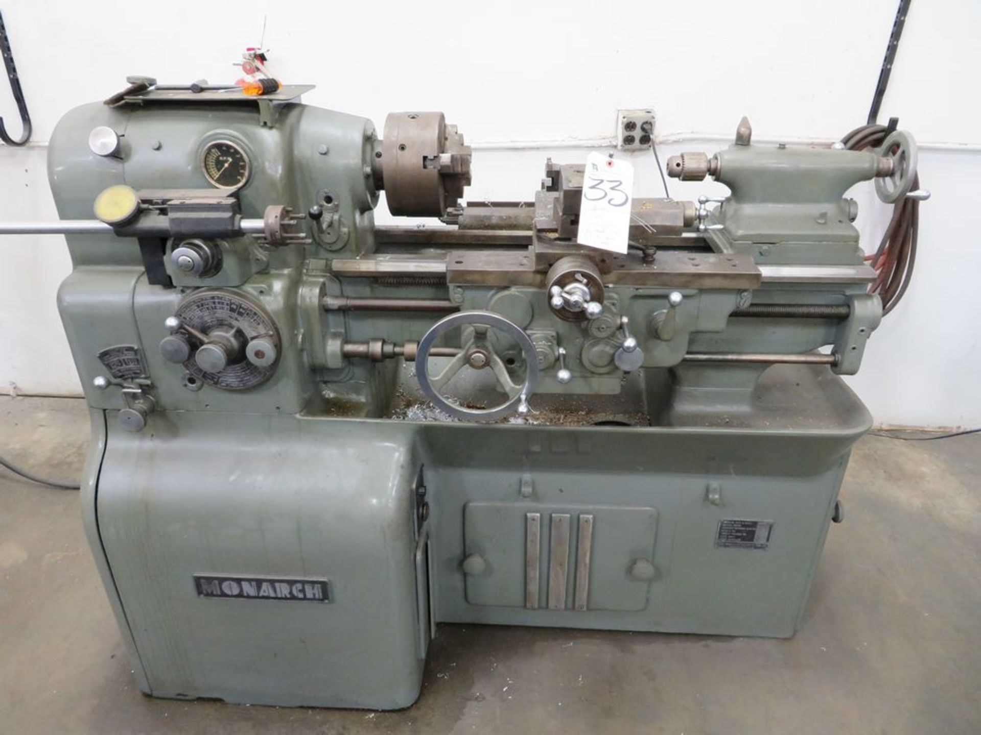 "Lot 33 - Monarch 13"" x 20"" Engine Lathe w/ Tool Holder, 3-Jaw Chuck, Tail Stock & Assorted Tooling w/"
