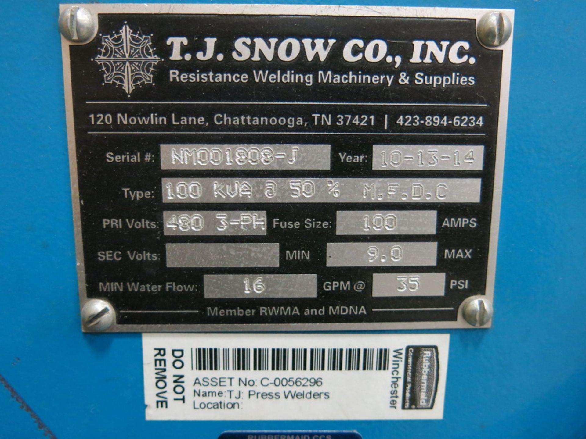 Lot 30 - 2014 T.J. Snow 100 KVA @ 50 Percent M.F.D.C. Dual Head Spot Welder