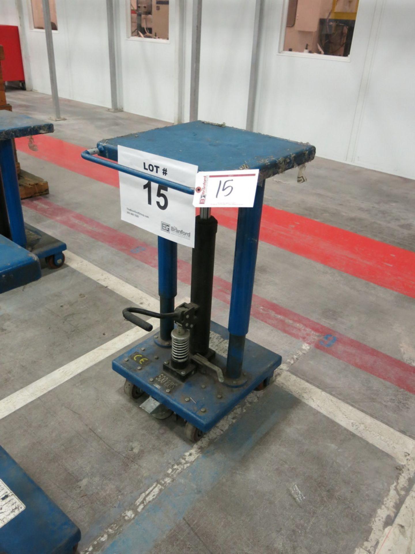 "Lot 15 - 2014 Hydraulic Die Lift Cart, 500 Lb Cap. 18"" x 18"""