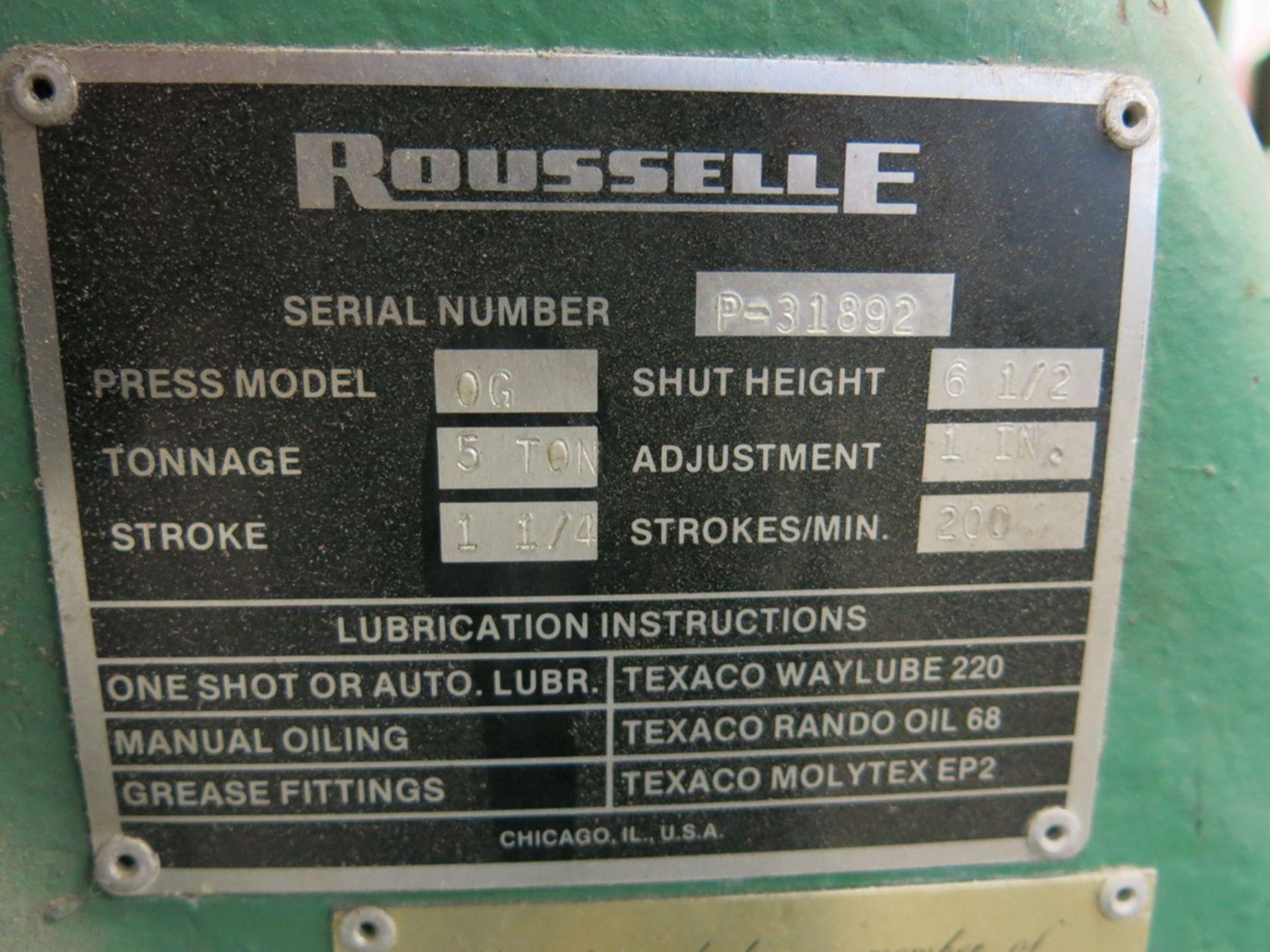 """Lot 28 - Rousselle Model OG 5-Ton OBI Press, 1 1/4"""" Stroke Press"""