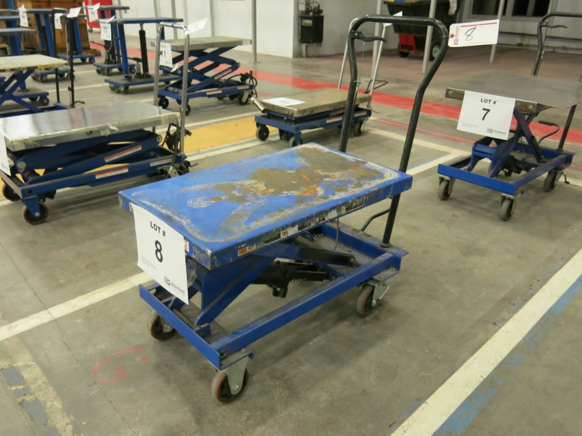 Lot 8 - Lift Table, 1100 lb Cap. Steel Topped Die Lift Cart