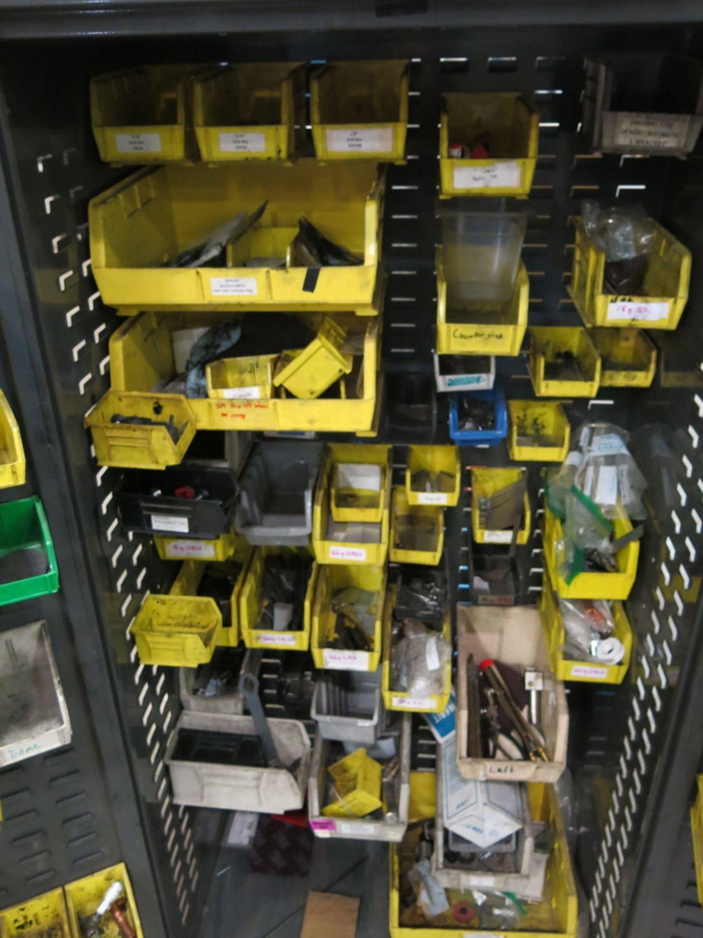 Lot 44 - Welding Supply 2-Door Metal Cabinet w/ Contents to Include: Welding Tips, Arms, Weld Controllers