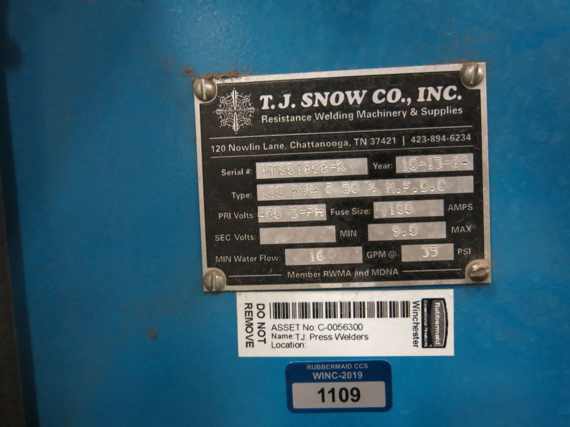 Lot 33 - 2014 T.J. Snow 100 KVA @ 50 Percent M.F.D.C. Dual Head Spot Welder