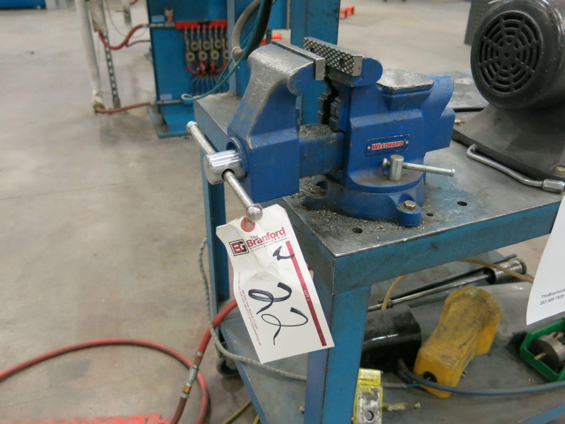 """Lot 22 - Multicyl Hydraulic Punch w/ Cart, (1) Westward 4"""" Benchtop Vise"""