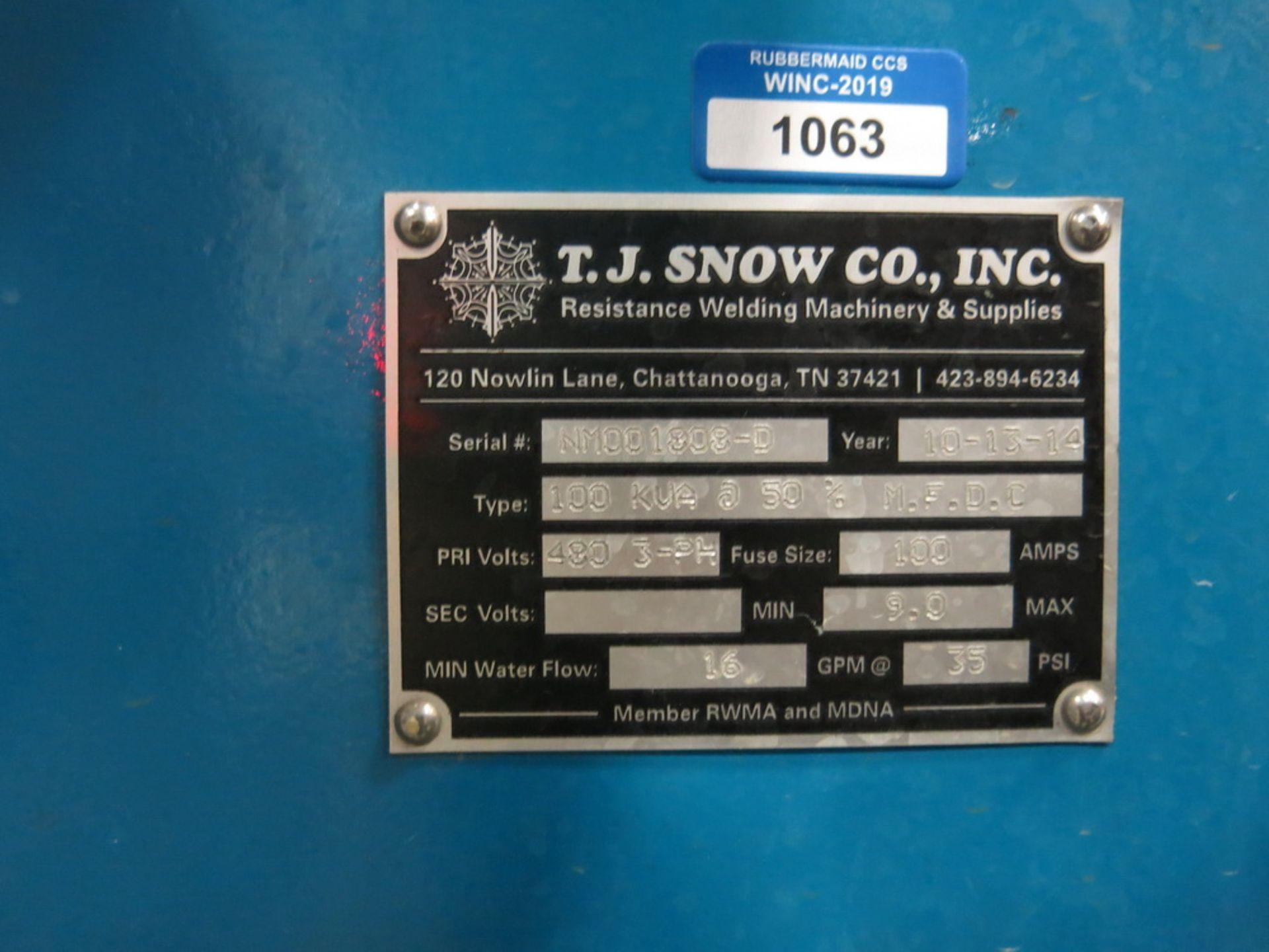 Lot 36 - 2014 T.J. Snow 100 KVA @ 50 Percent M.F.D.C. Dual Head Spot Welder