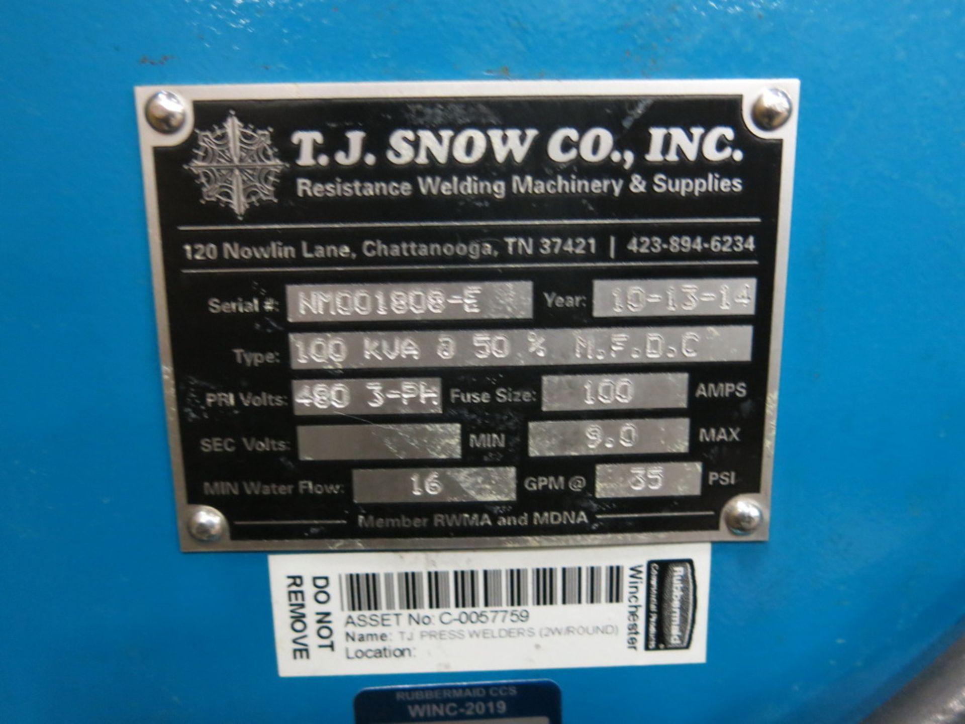 Lot 34 - 2014 T.J. Snow 100 KVA @ 50 Percent M.F.D.C. Dual Head Spot Welder