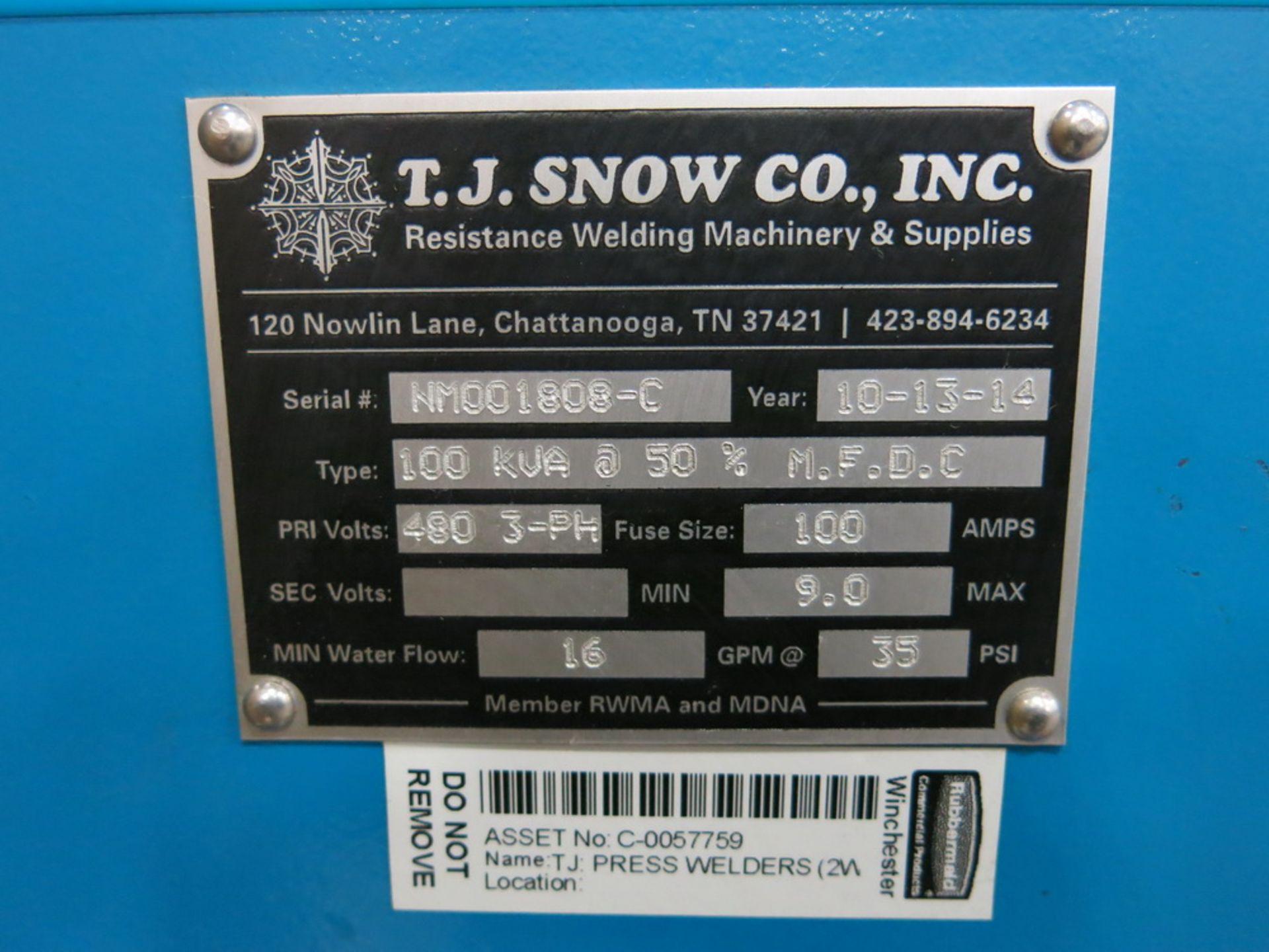 Lot 35 - 2014 T.J. Snow 100 KVA @ 50 Percent M.F.D.C. Dual Head Spot Welder