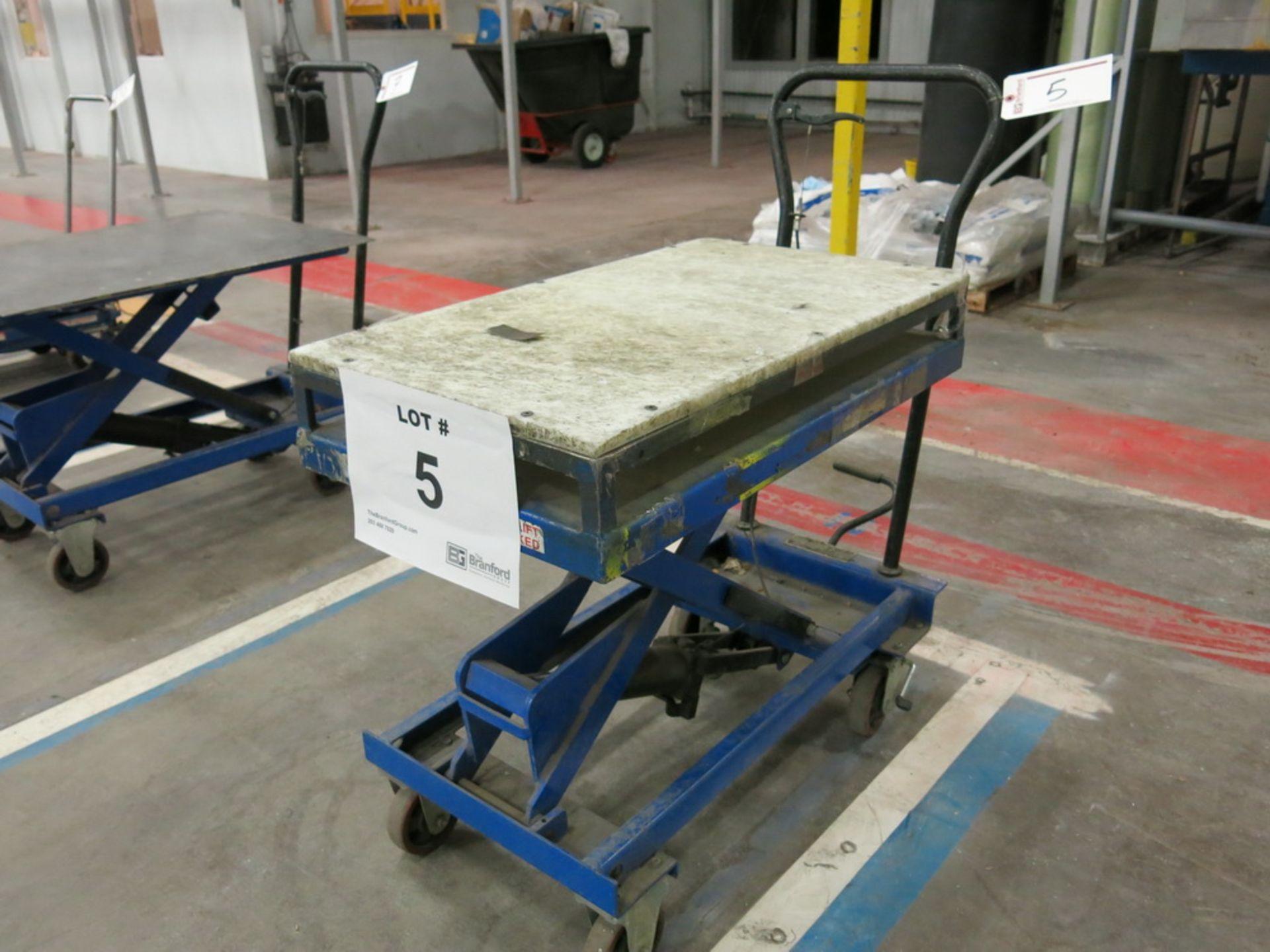 Lot 5 - Lift Table, 1100 lb Cap. Hydraulic Die Lift Cart w/ Polypropylene Top