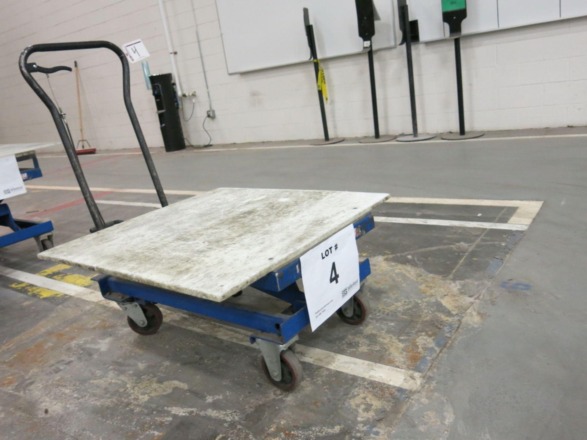 Lot 4 - Lift Table, 1100 lb Cap. Hydraulic Die Lift Cart w/ Polypropylene Top