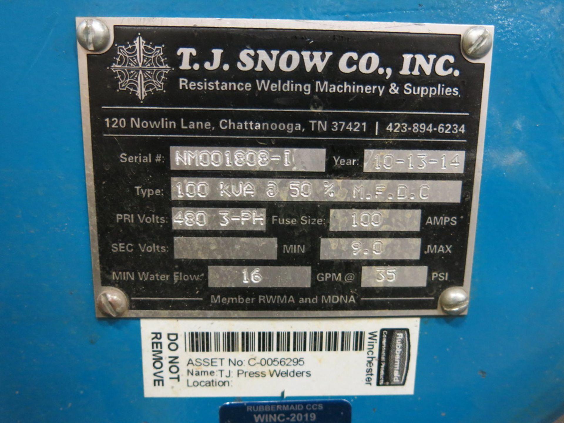 """Lot 31 - 2014 T.J. Snow 100 KVA @ 50 Percent M.F.D.C. Approx. 40"""" Throat Dual Head Spot Welder"""
