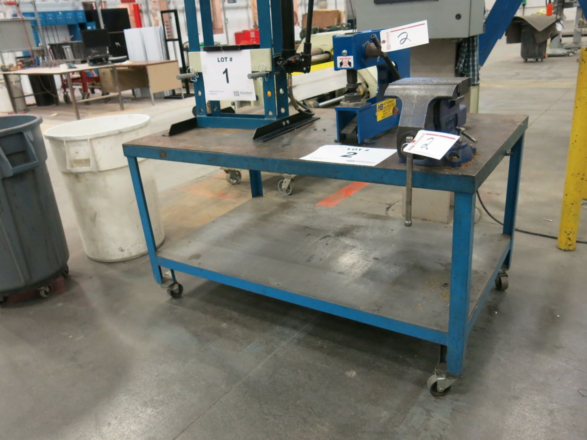 """Lot 2 - Mittler Bros. Manual Hand Held Press, (1) Approx.. 8"""" Benchtop Vise w/ Steel Table"""