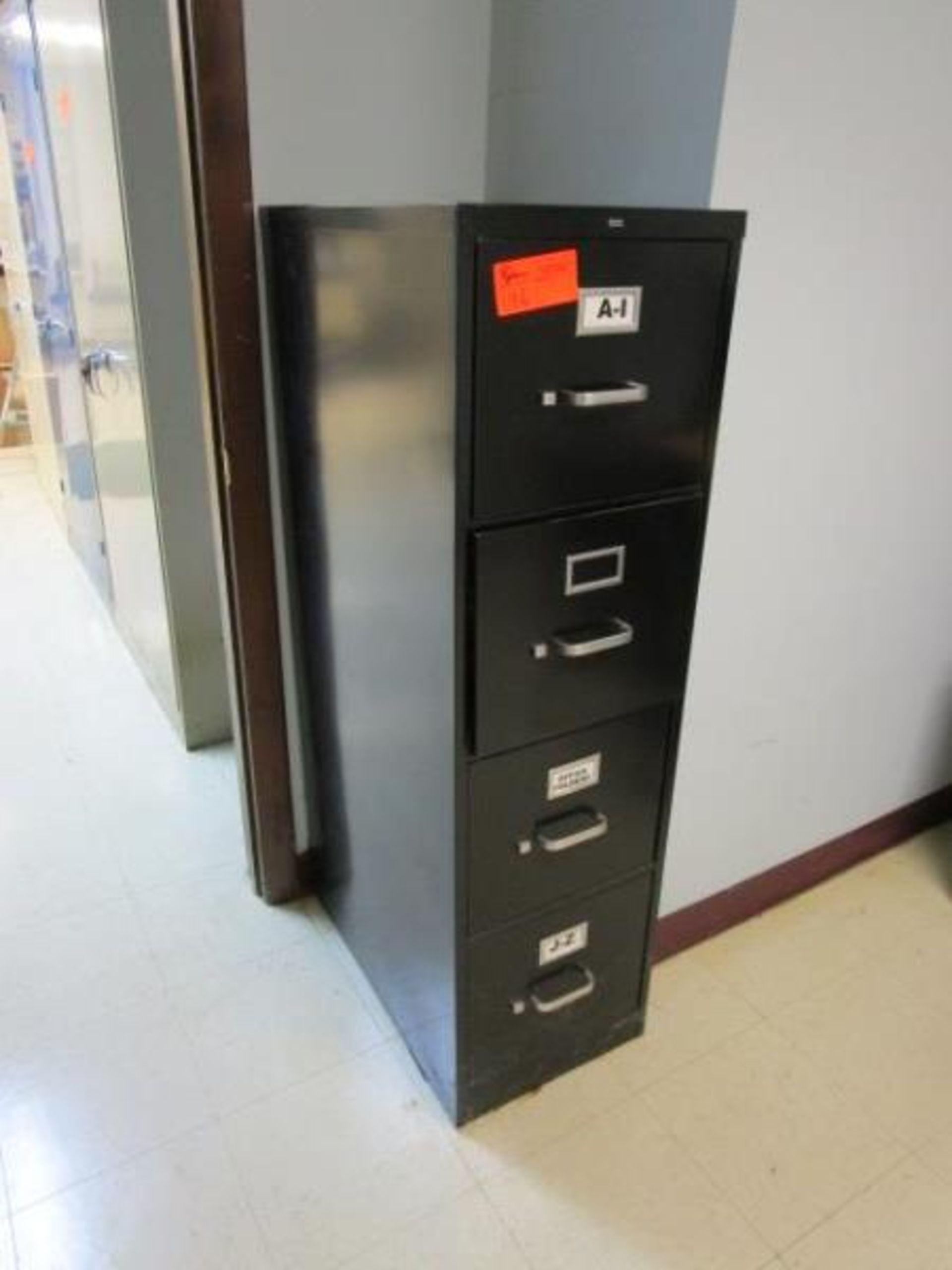 Lot 196 - Four drawer black file