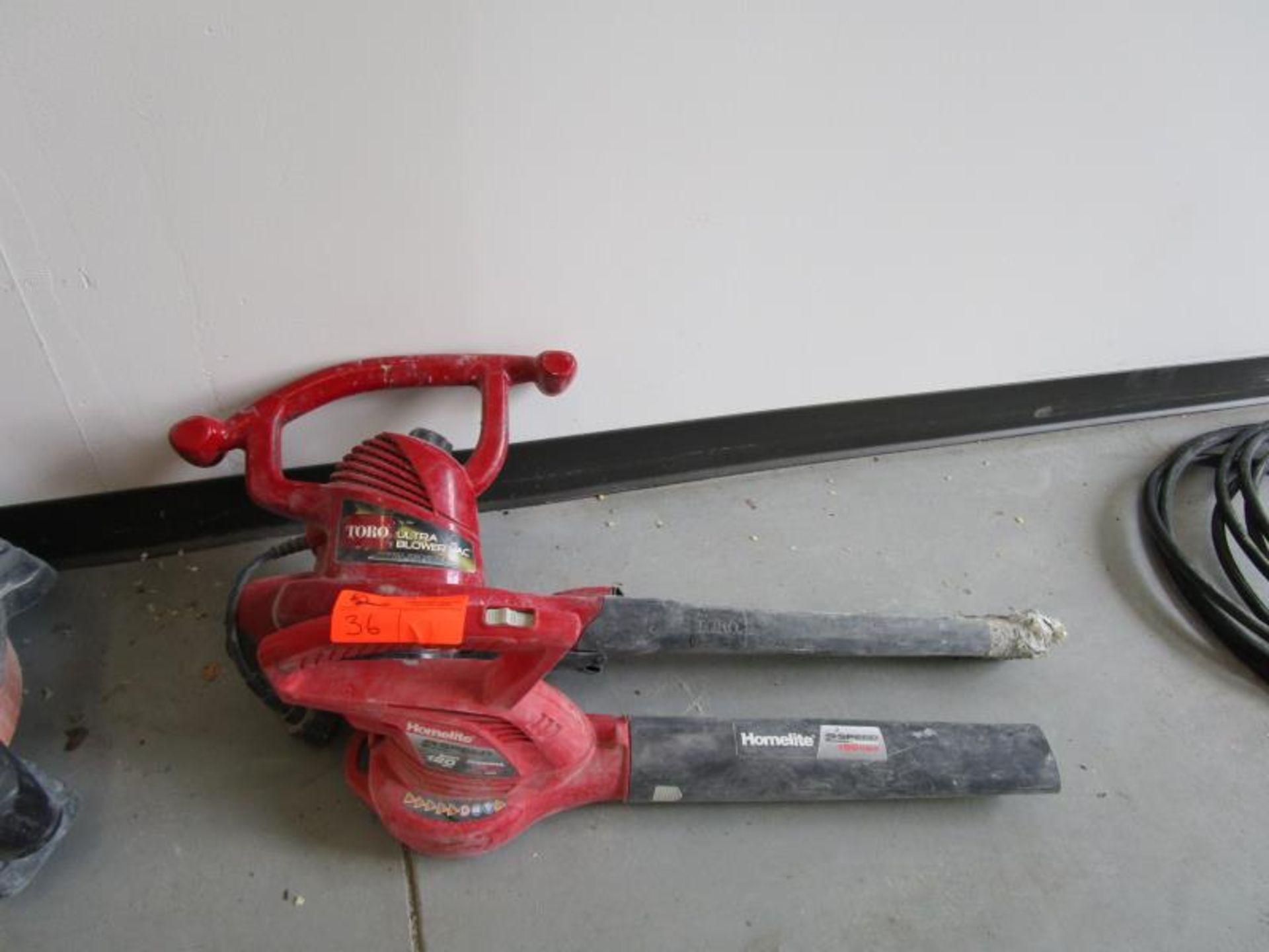 Lot 36 - 2 Electric Leaf Blowers, (1) Homelite, (1) Toro