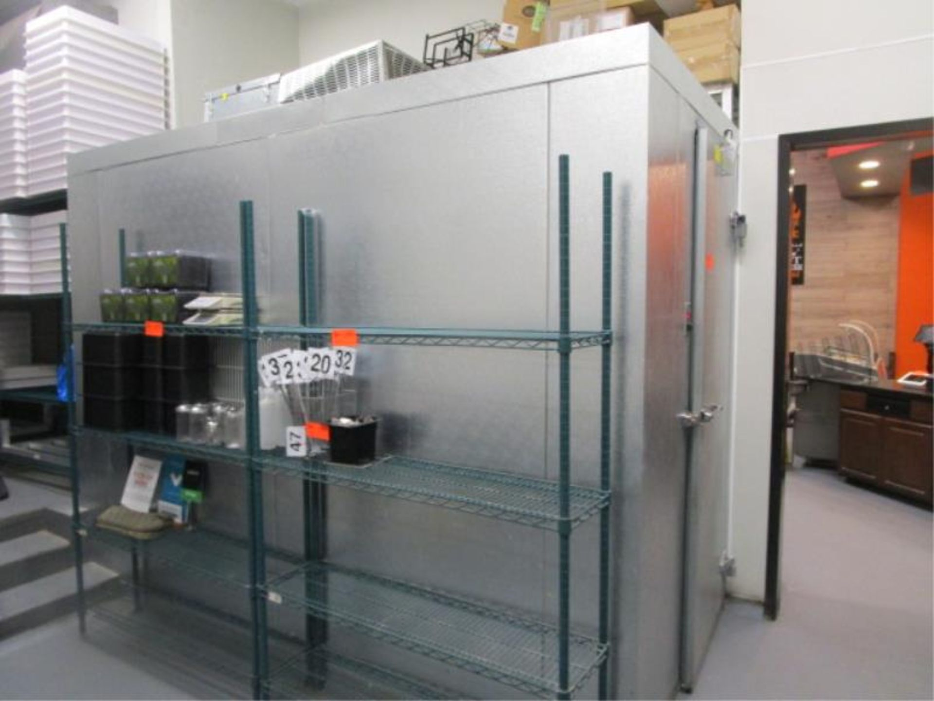 """Lot 44 - Walk In Cooler by Norlake, Approx. 10' x 91""""t x 6'w, Drop In Compressor, Cut Out In Rear For"""