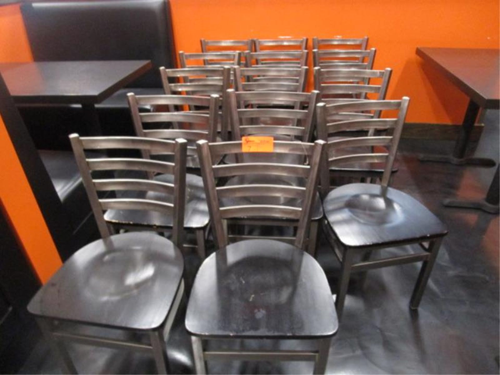 Lot 7 - (14) Metal Frame Dinning Chairs w/ Wood Seat