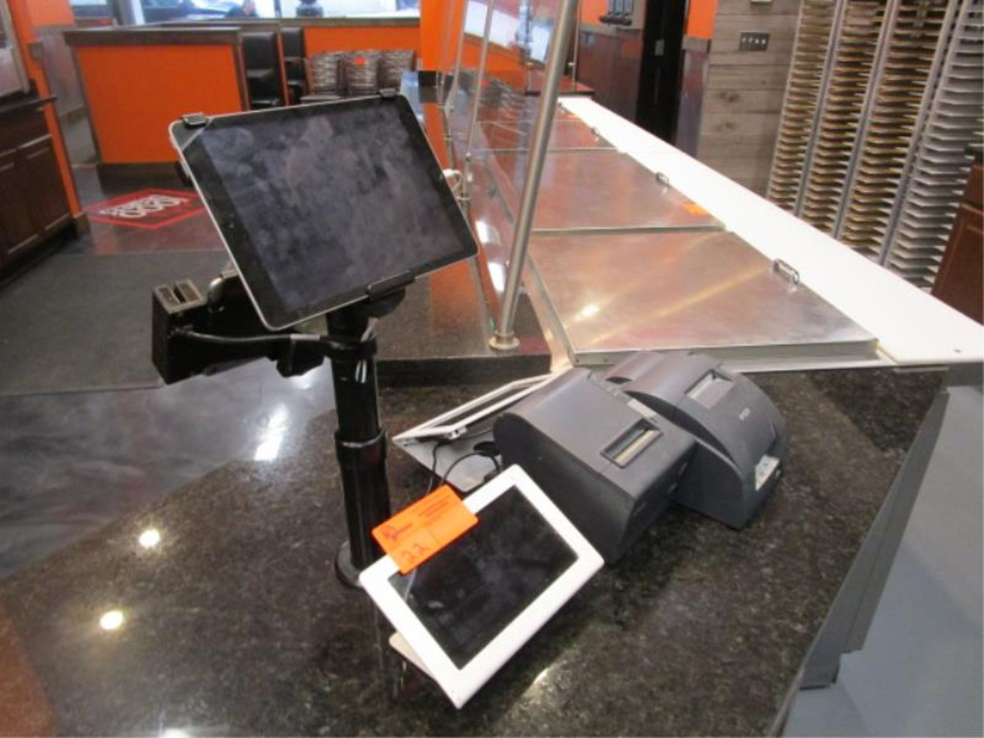 Lot 22 - POS Terminal w/ Apple IPad, Credit Card Swipe, (2) Nexus Tablets, Epson Receipt & Ticket Printer