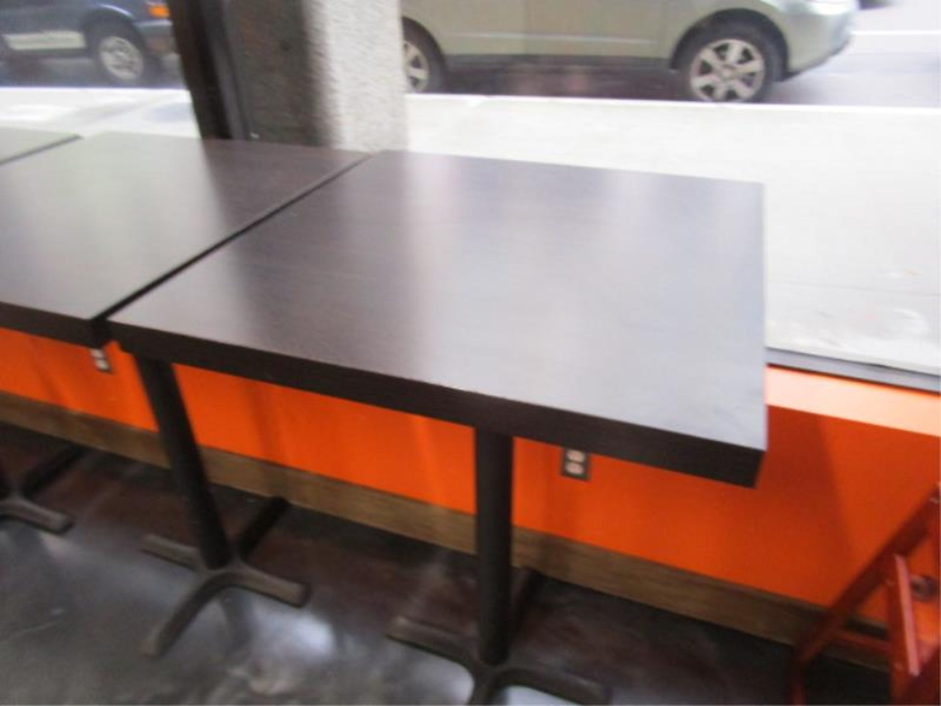 Lot 2 - (5) Bistro Tables, w/ Dark Wood Top by BFM Seating
