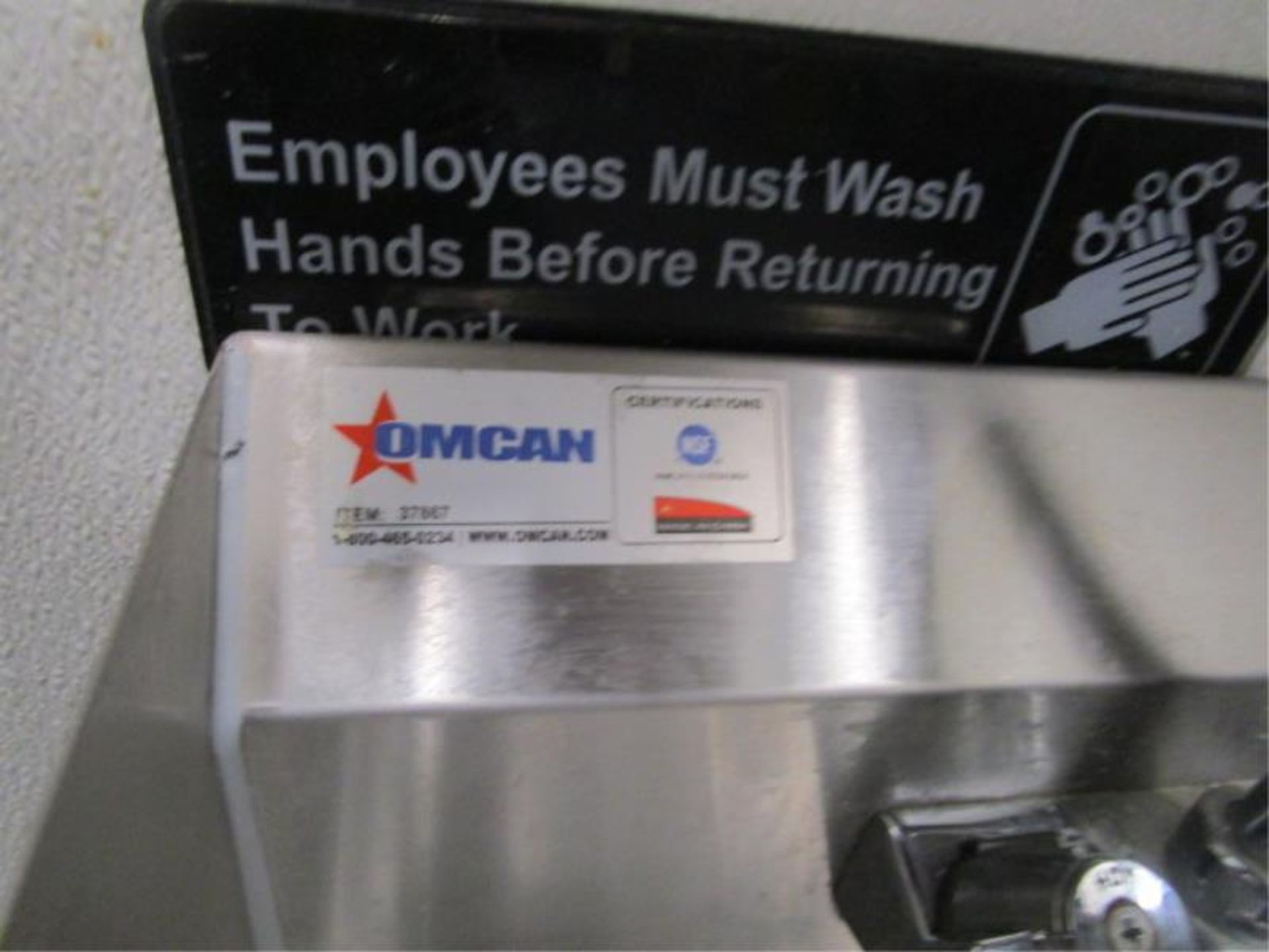 Lot 33 - Stainless Steel Hand Sink w/ Dual Side Splash Guards,