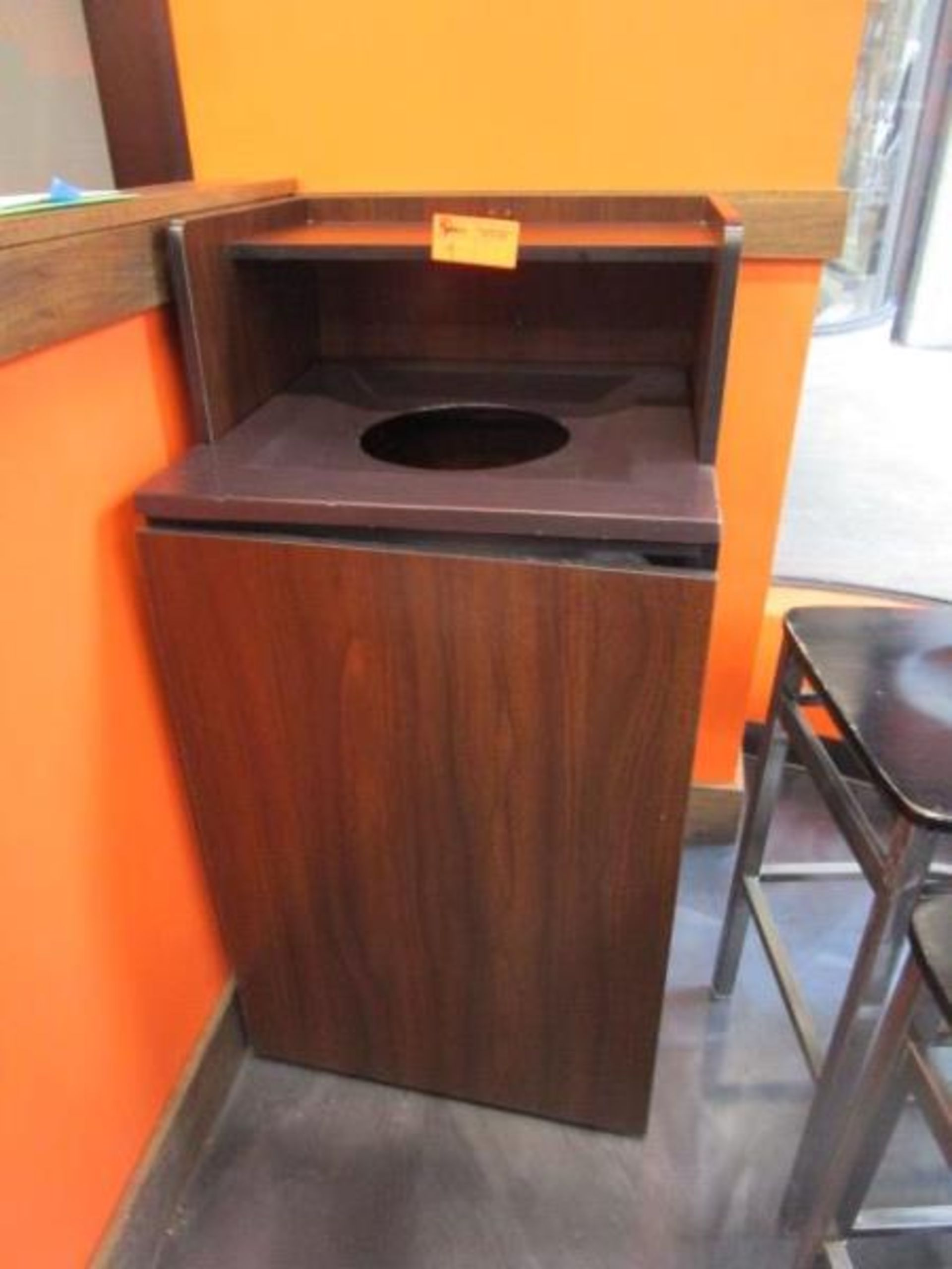 Lot 4 - Laminate Trash Receptacle w/ Don Plastic Can