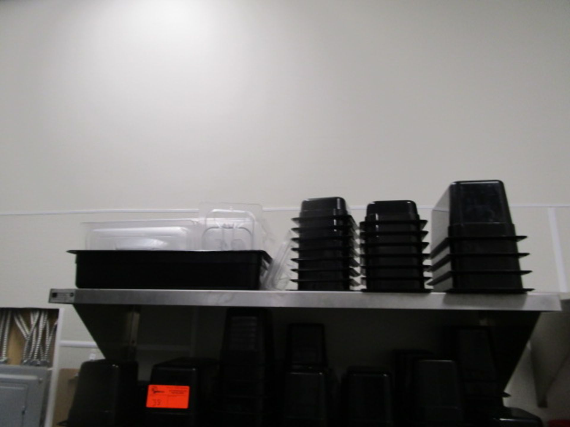 Lot 38 - Lot Black Plastic Inserts & Tub Of Clear Lids