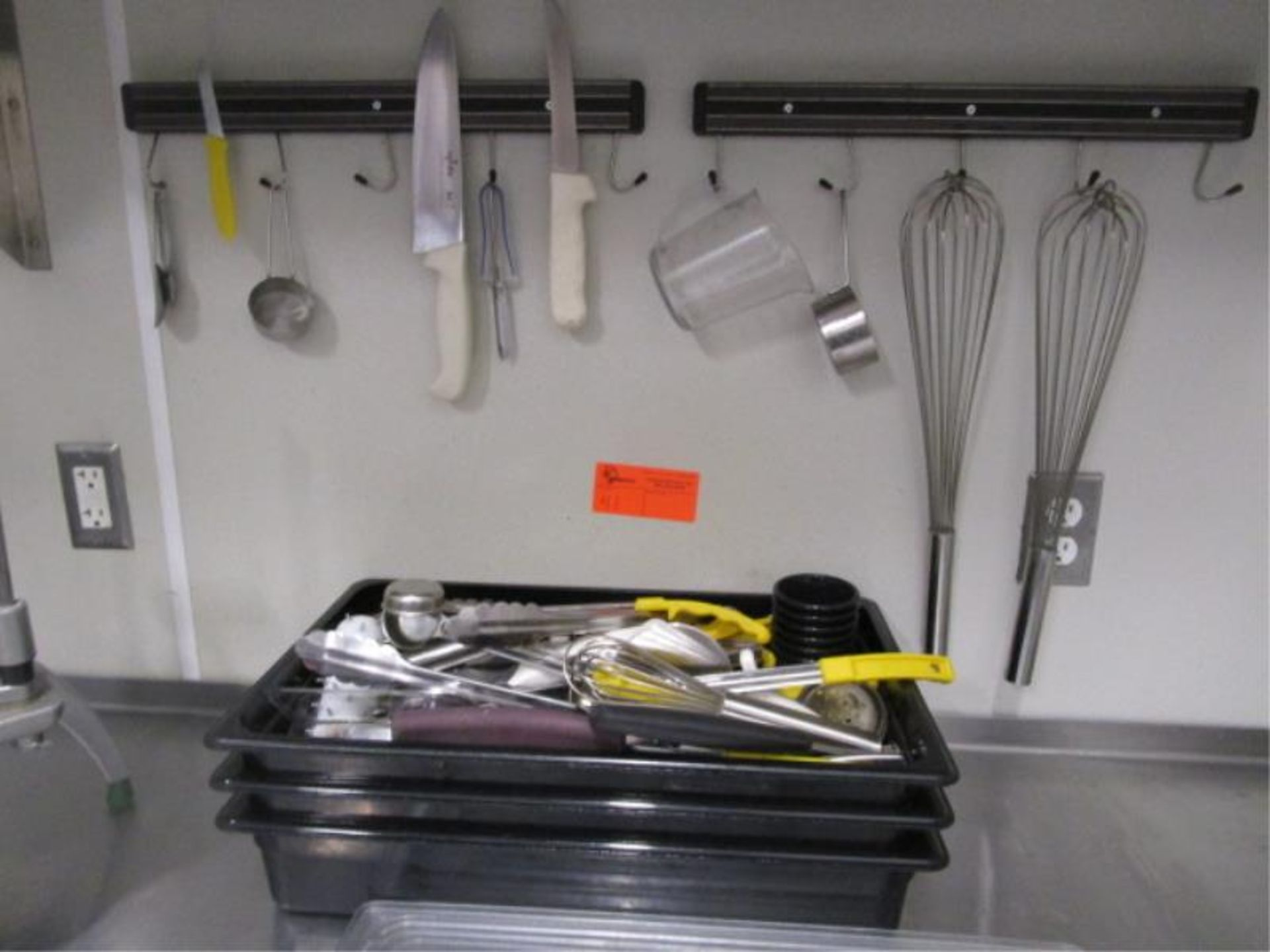 Lot 41 - (2) Magnetic Knife Rails, Whisks, (3) Plastic Containers & Lot Of Smallwares