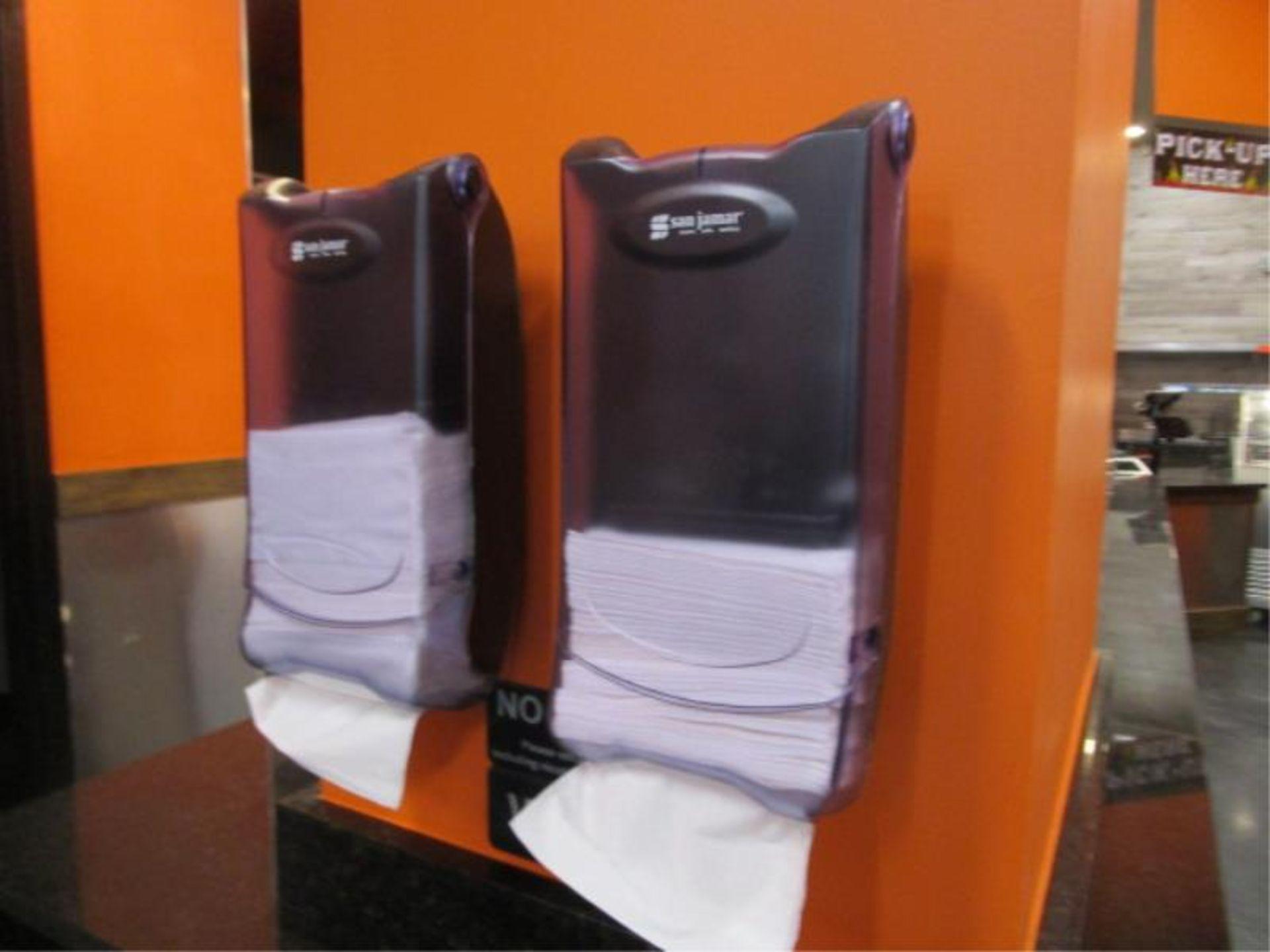 Lot 11 - (3) Dixe Wall Mounted Utensil Dispensers & (2) Napkin Dispenser