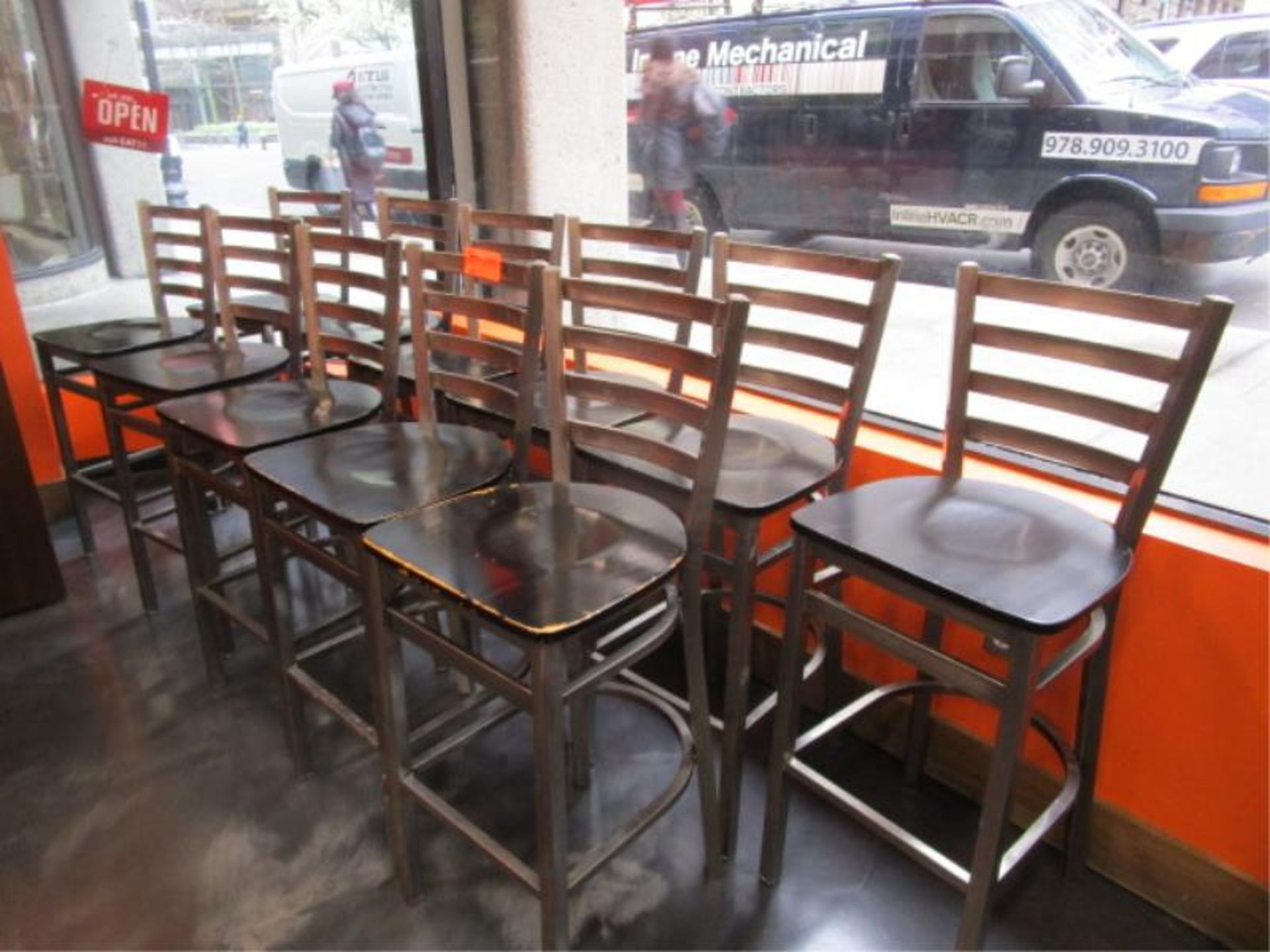 Lot 1 - (12) Bar Stools, Metal Frame, Wood Seat