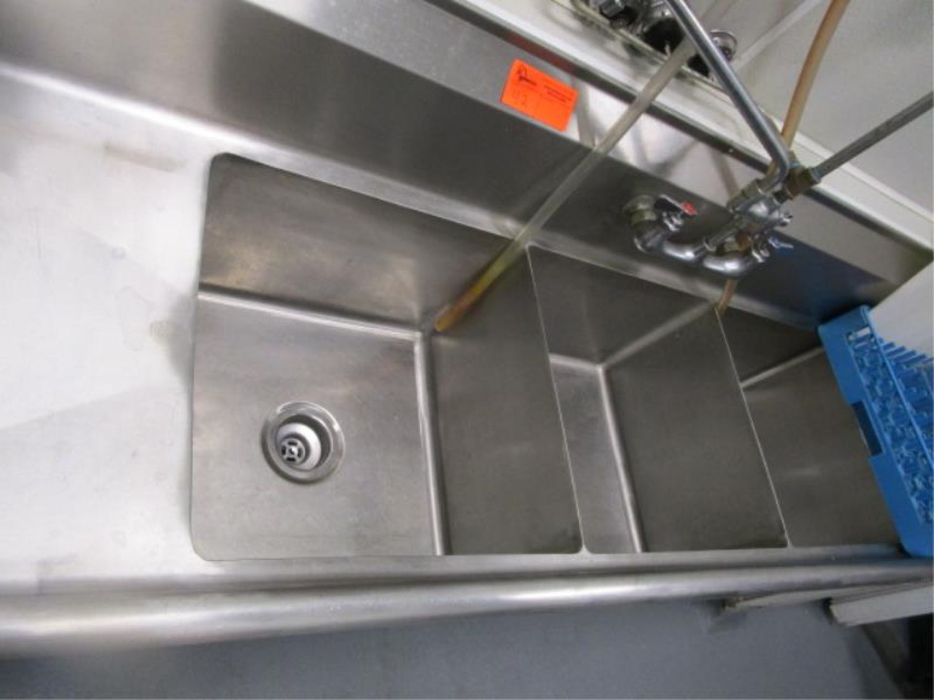 """Lot 42 - Three Compartment Sink w/ Dual Side Drainboards, Sprayer, 89"""""""