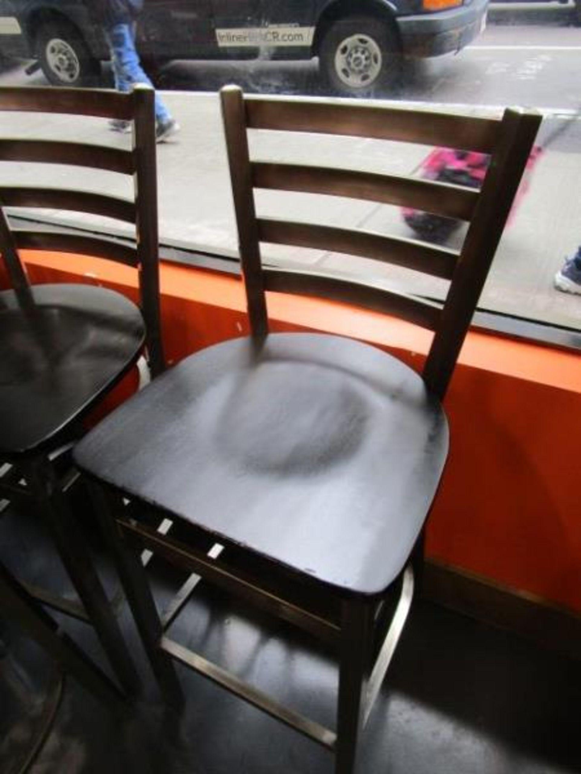 Lot 1 - (12) Bar Stools, Metal Frame, Wood Seat