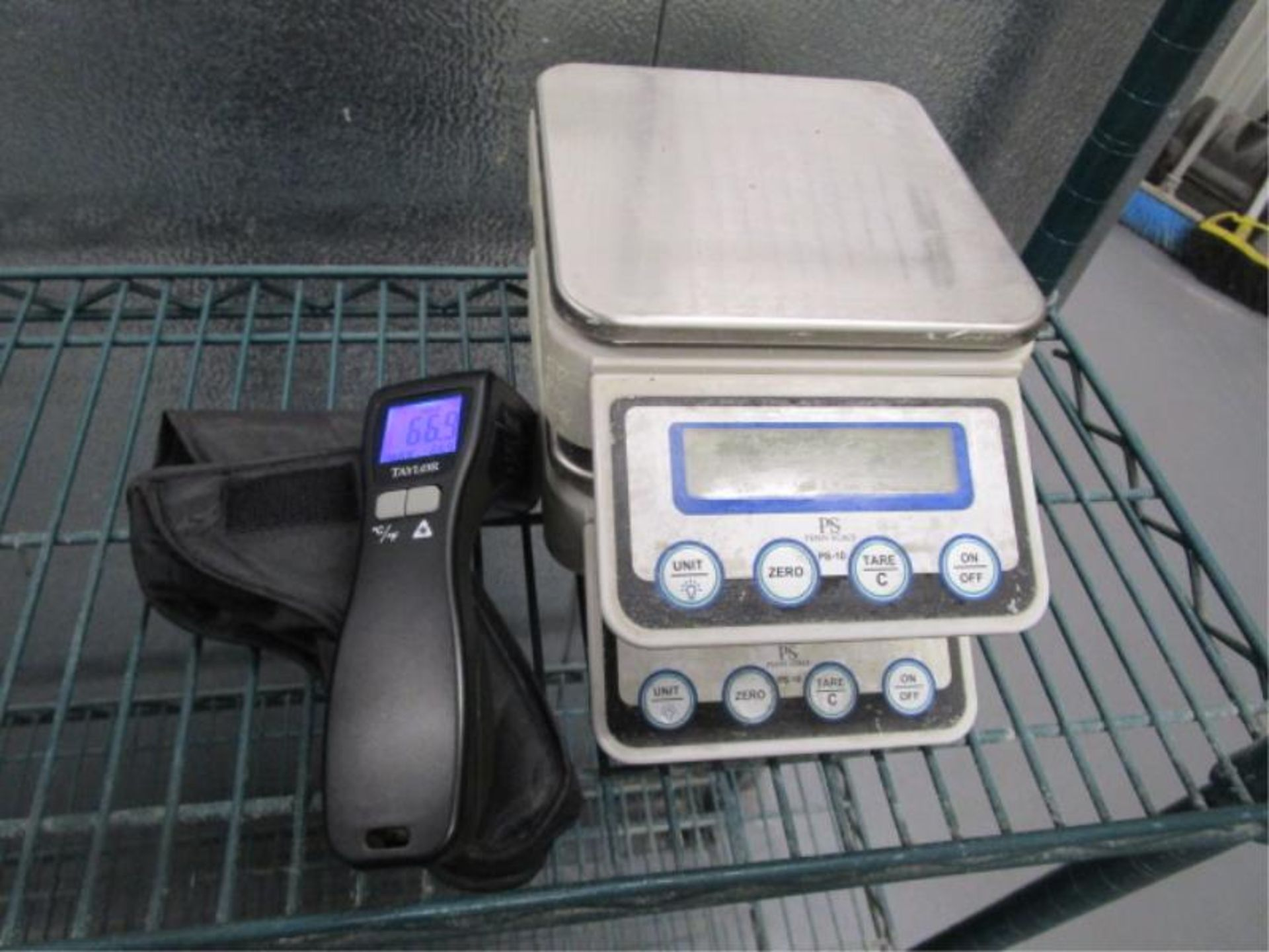 Lot 60 - (2) PS Pen Portion Scales & Taylor Laser Thermometer, Model: 9523