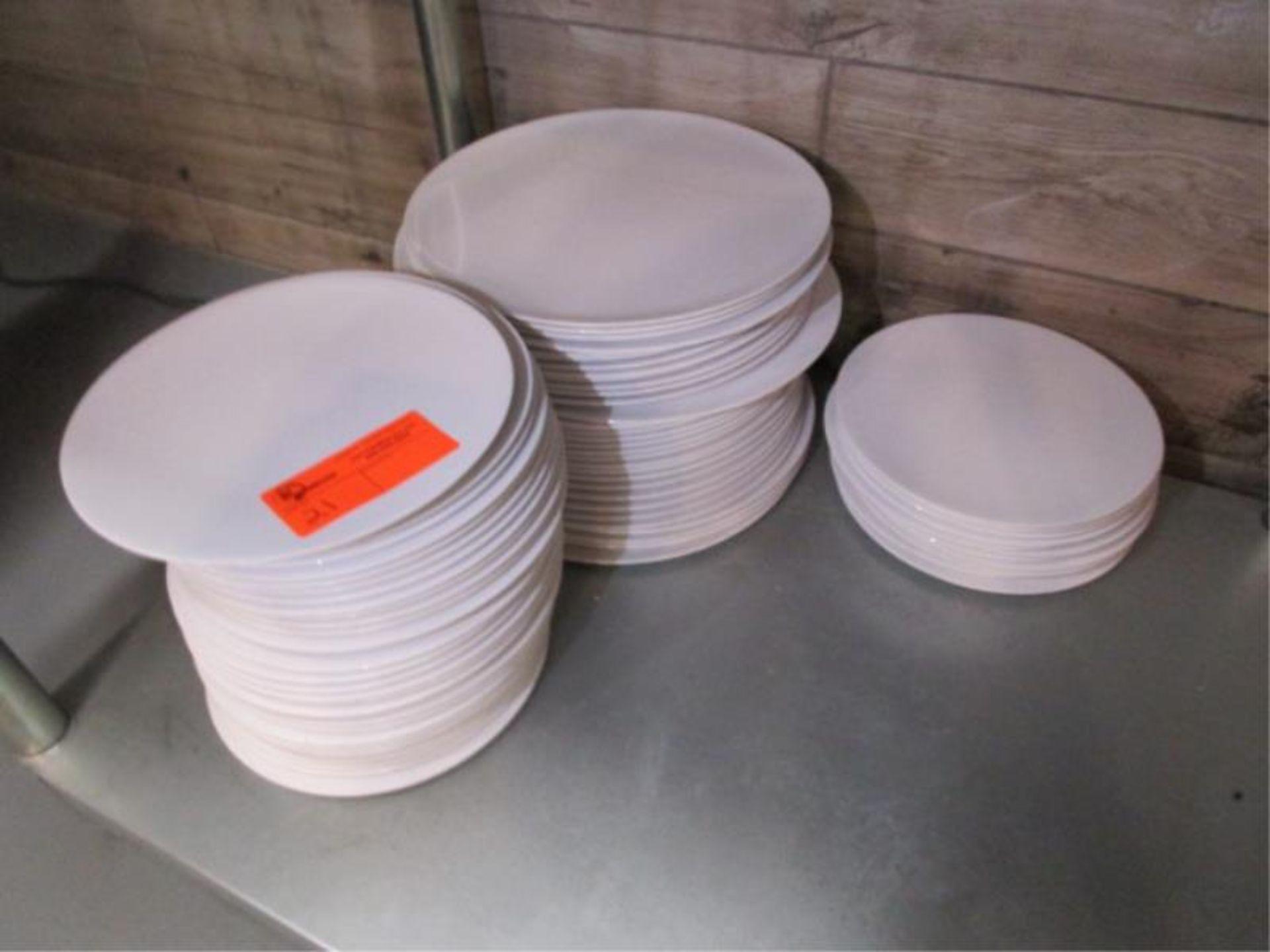 Lot 21 - Melamine White Plastic Plates by Yanco